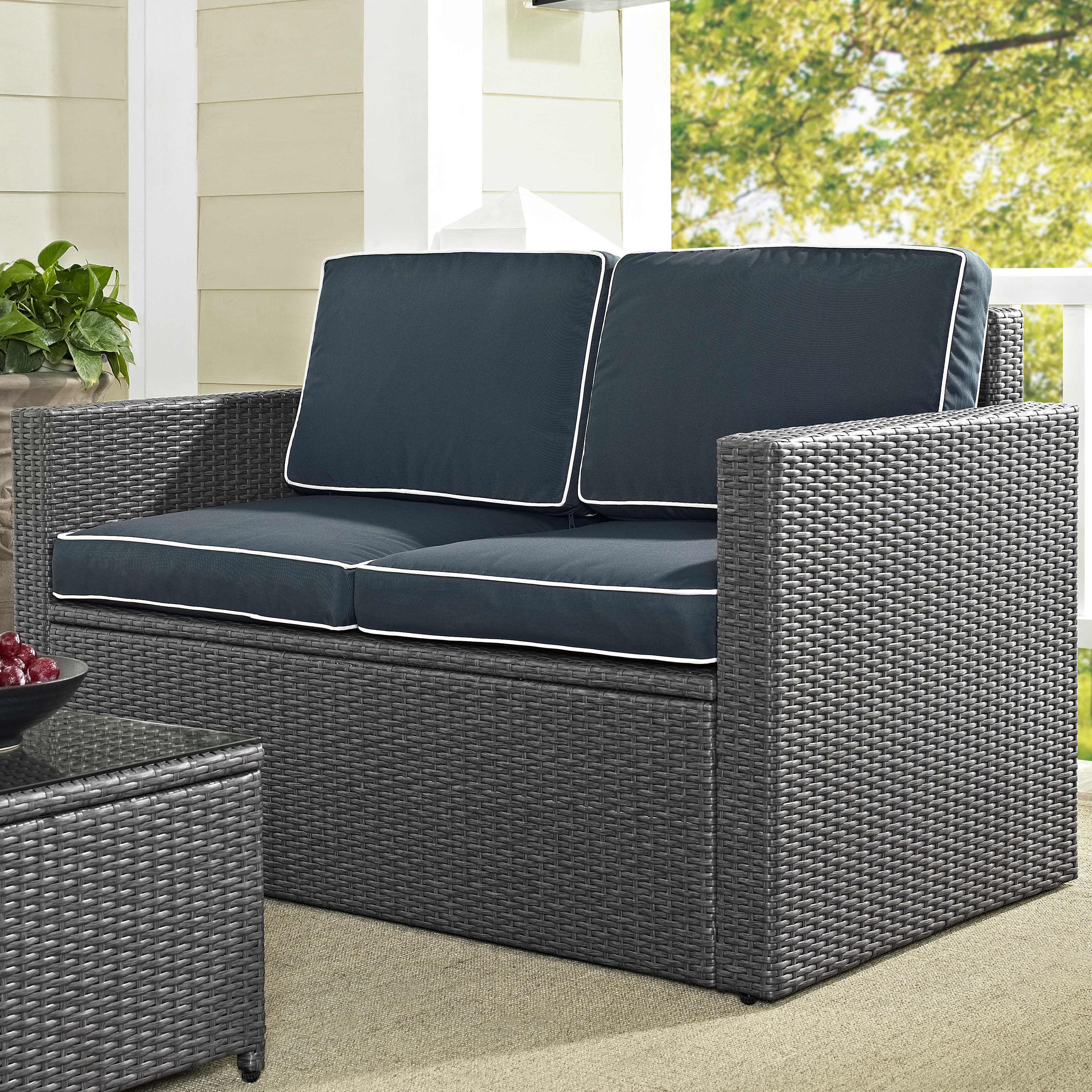 Mendelson Loveseat With Cushion With Recent Provencher Patio Loveseats With Cushions (View 9 of 20)