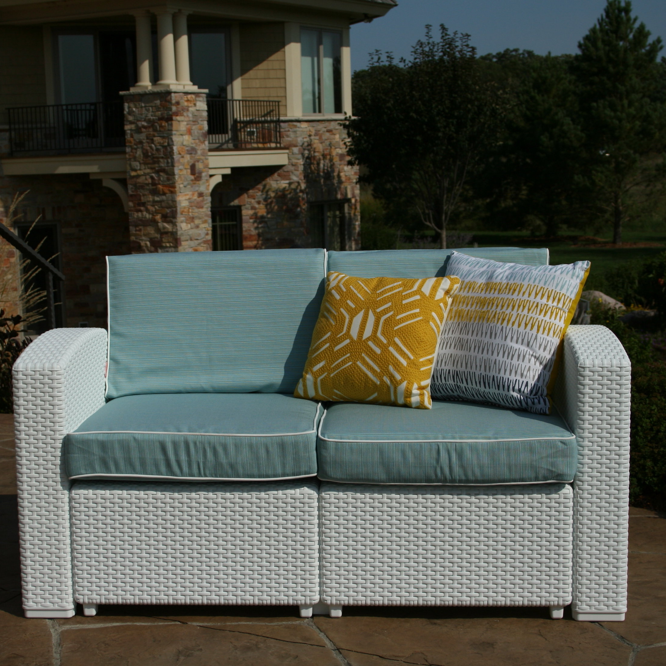 Mendelson Loveseats With Cushion Regarding Most Up To Date Loggins Patio Loveseat With Cushions (View 11 of 20)