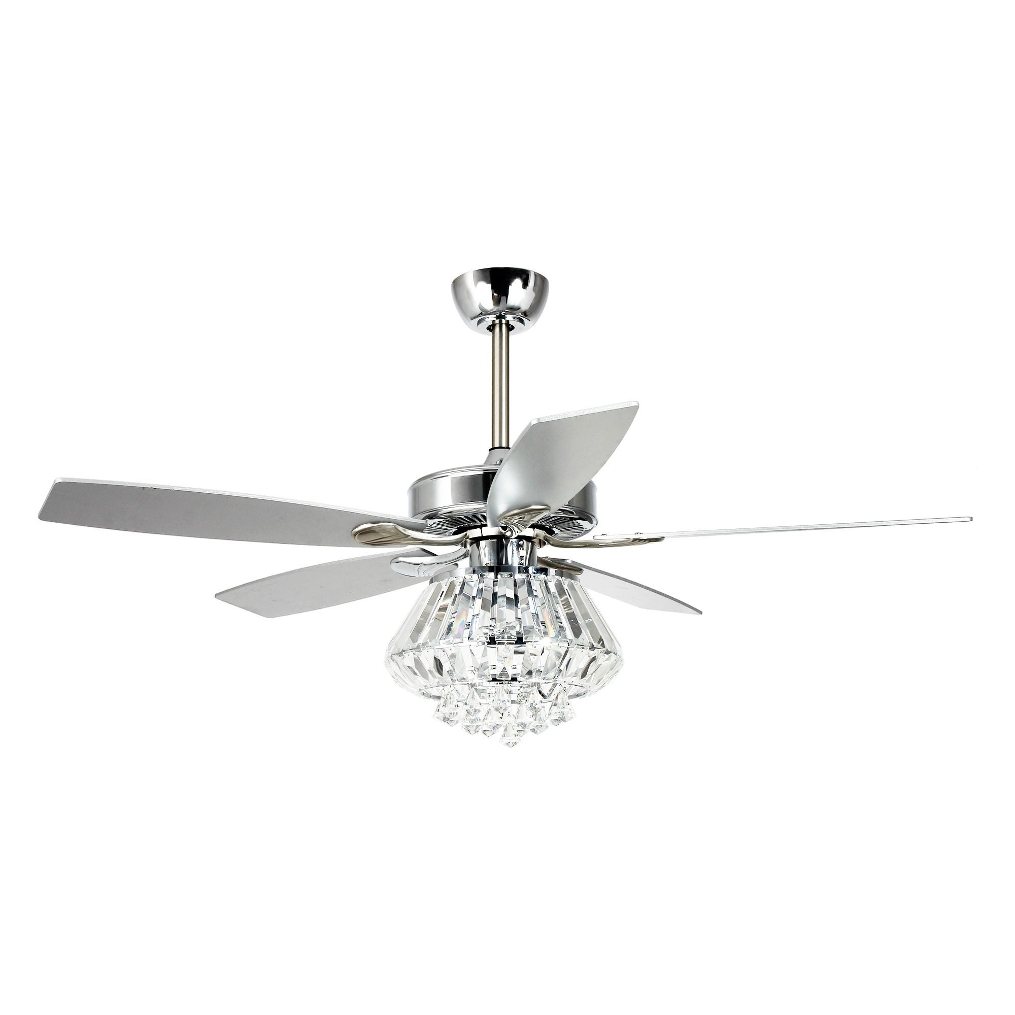 Modern 52 Inch Chrome 5 Blade Crystal Ceiling Fan With Remote For Well Liked 5 Blade Ceiling Fans With Remote (View 12 of 20)
