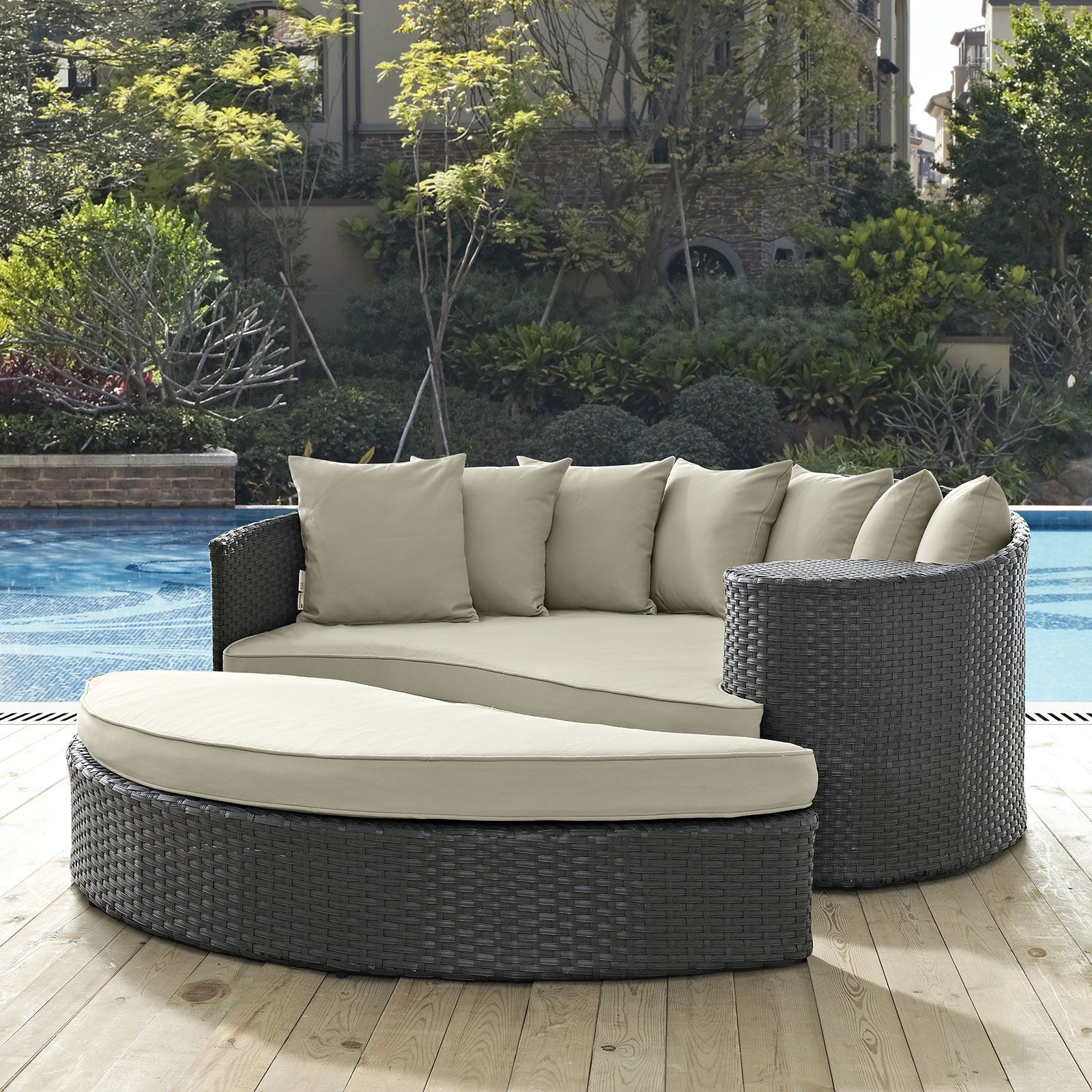 Modway Sojourn Wicker 2 Piece Outdoor Daybed Set – Eei 1982 For Widely Used Keiran Patio Daybeds With Cushions (View 13 of 20)