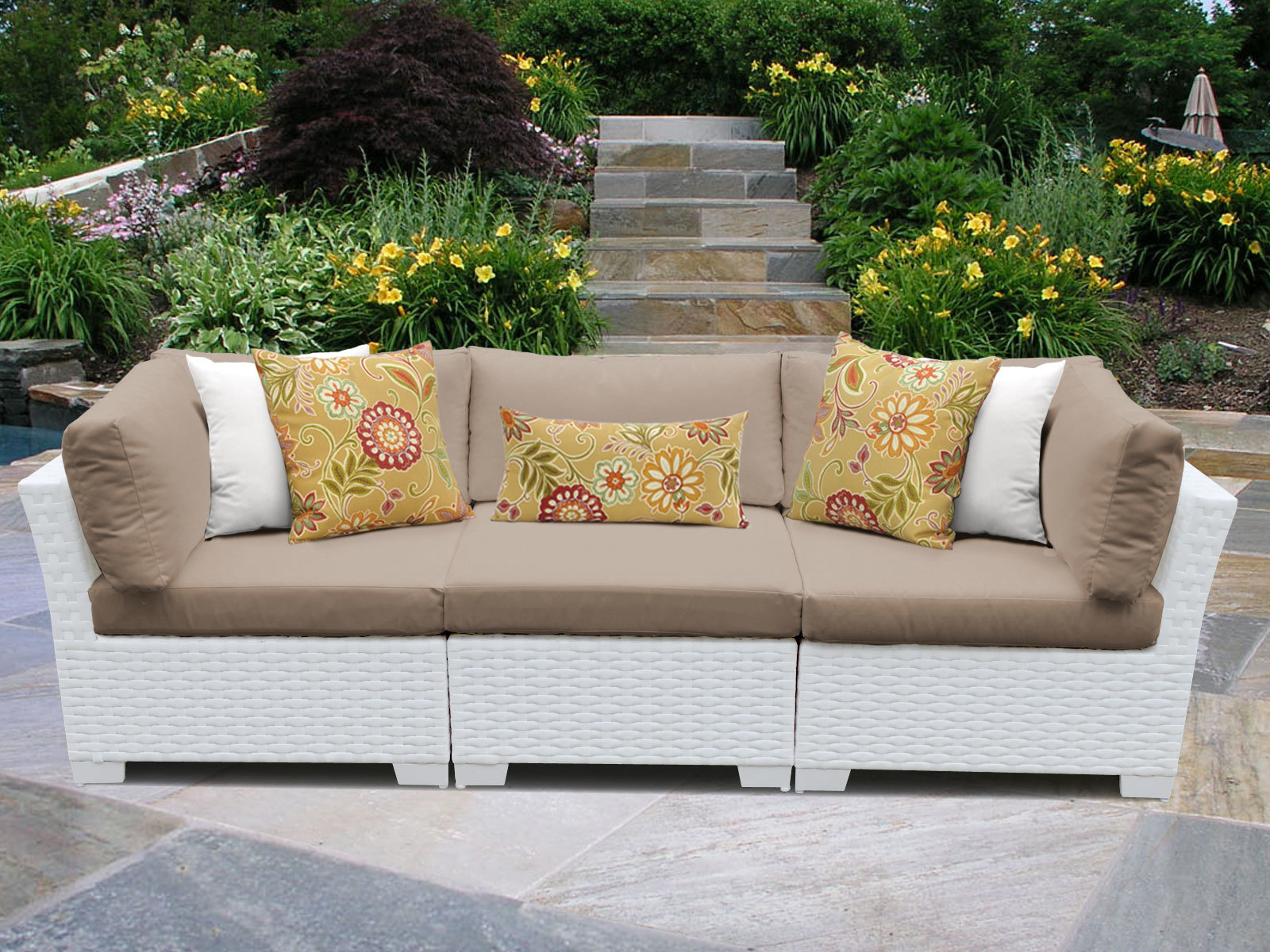 Monaco Patio Sofa With Cushions Intended For Most Recent Newbury Patio Sofas With Cushions (View 9 of 20)