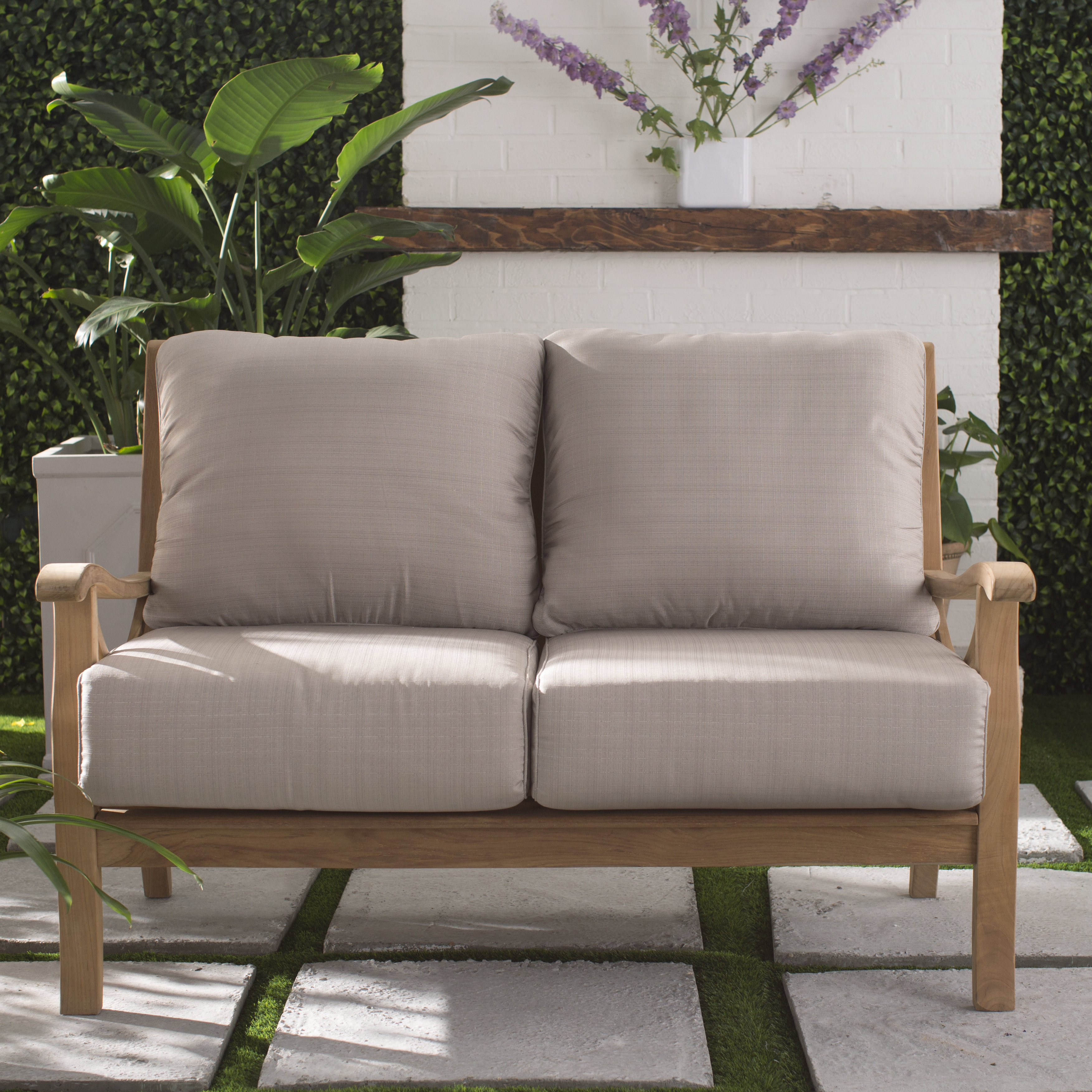 Montford Teak Loveseats With Cushions Inside Most Recently Released Brunswick Teak Loveseat With Cushions (View 8 of 20)