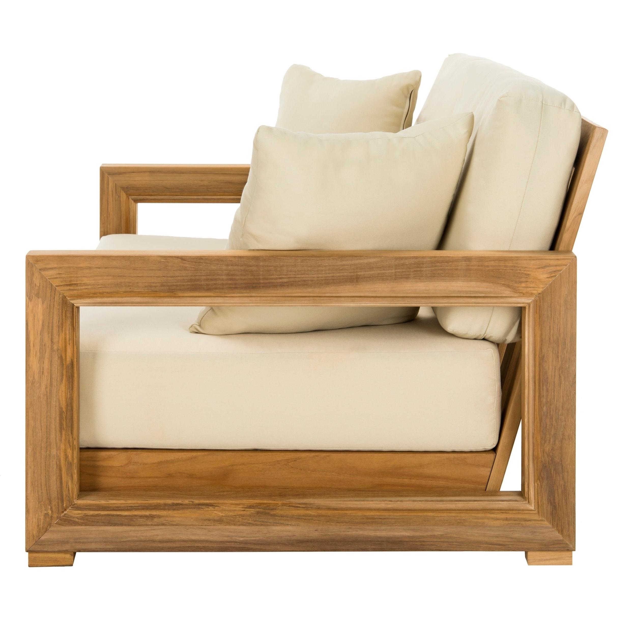 Montford Teak Loveseats With Cushions Regarding Most Current Safavieh Couture Outdoor Montford Teak Brown/ Beige 2 Seat Commercial Grade  Loveseat (View 10 of 20)