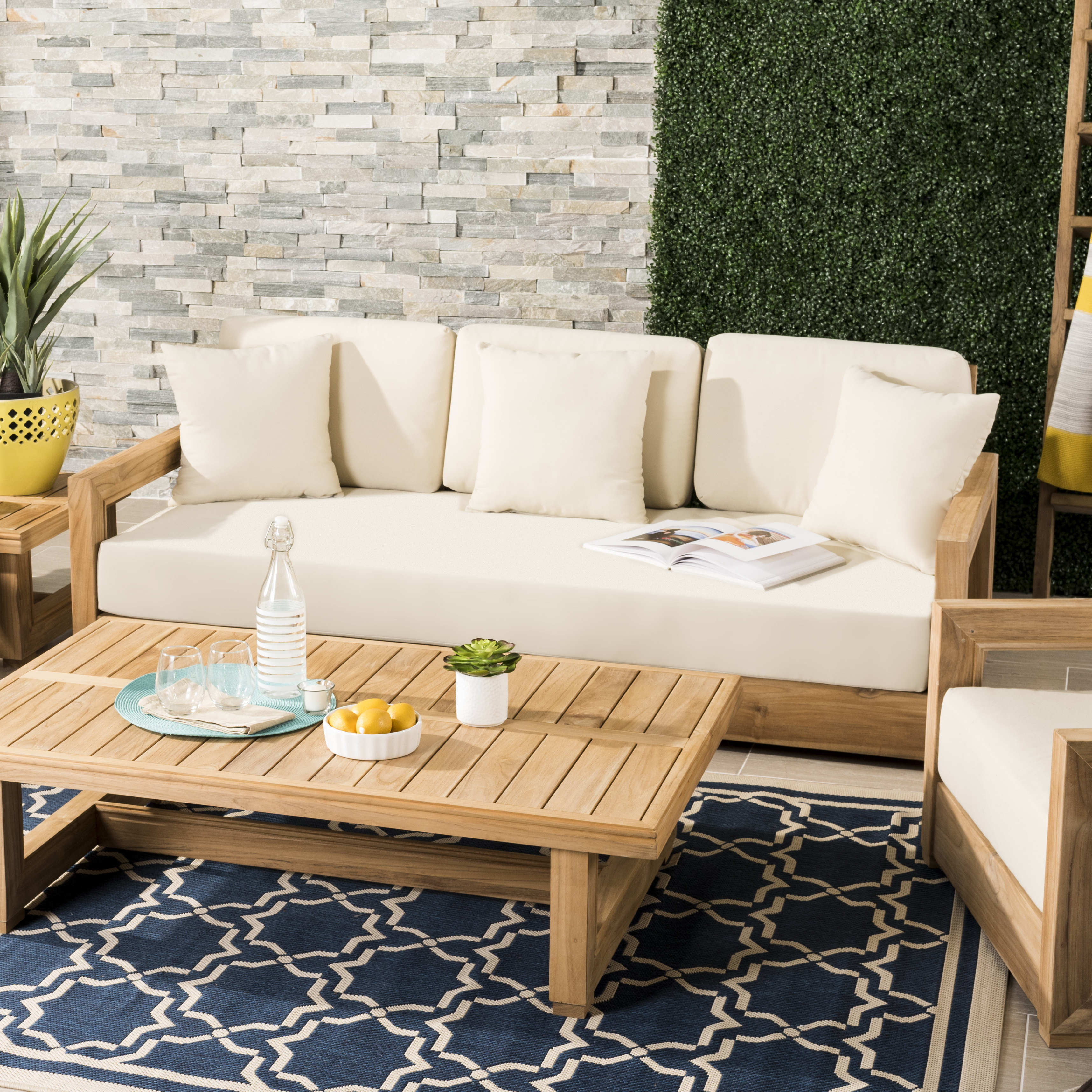 Montford Teak Patio Sofa With Cushions In Newest Summerton Teak Patio Sofas With Cushions (View 9 of 20)