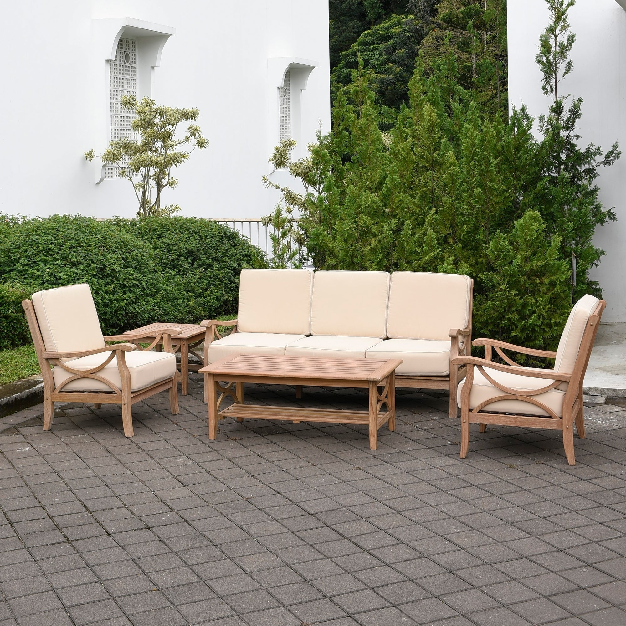Montford Teak Patio Sofas With Cushions In Famous Havenside Home Delray 5 Piece Teak Patio Conversation Set (View 11 of 20)