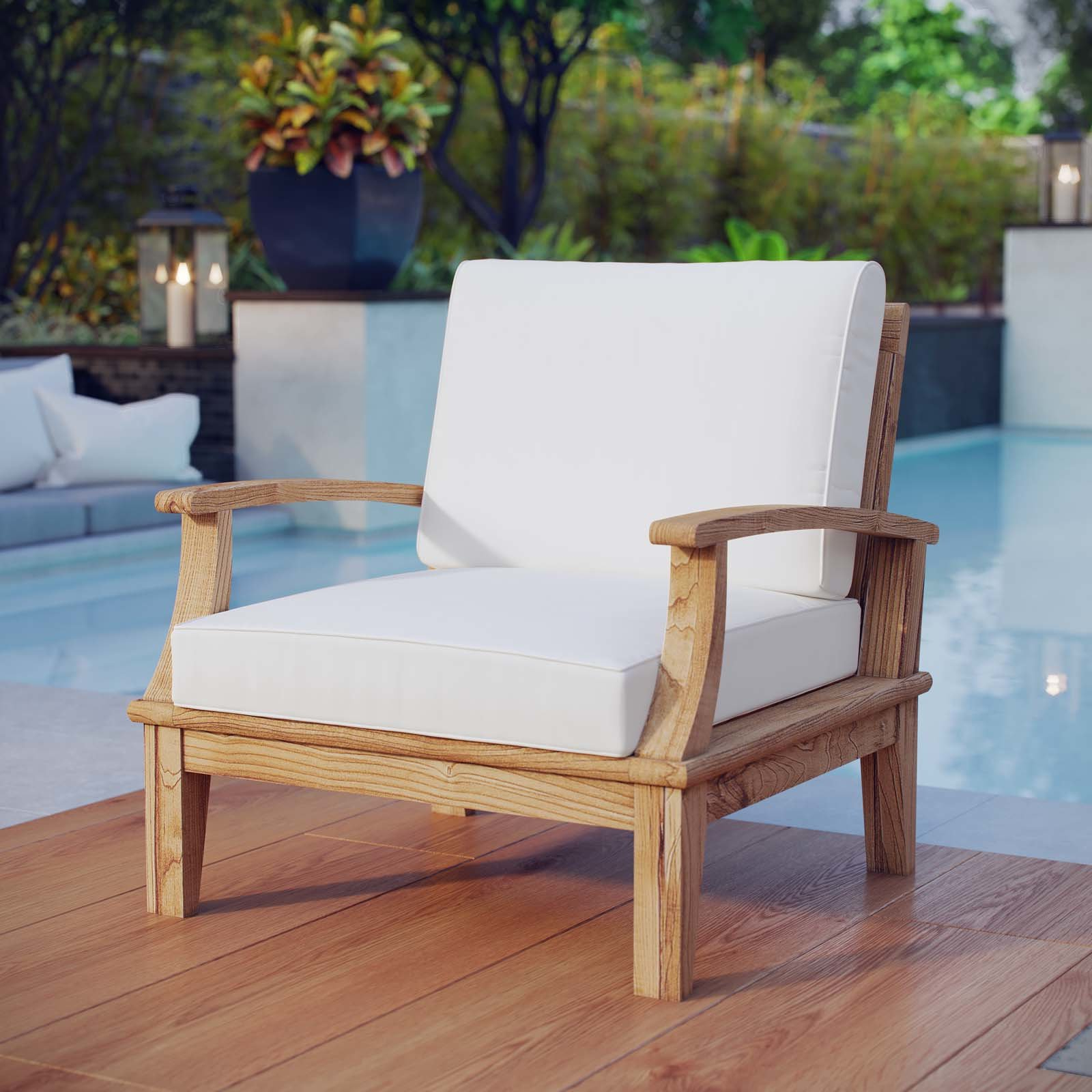 Montford Teak Patio Sofas With Cushions In Trendy Elaina Teak Patio Chair With Cushions (View 12 of 20)