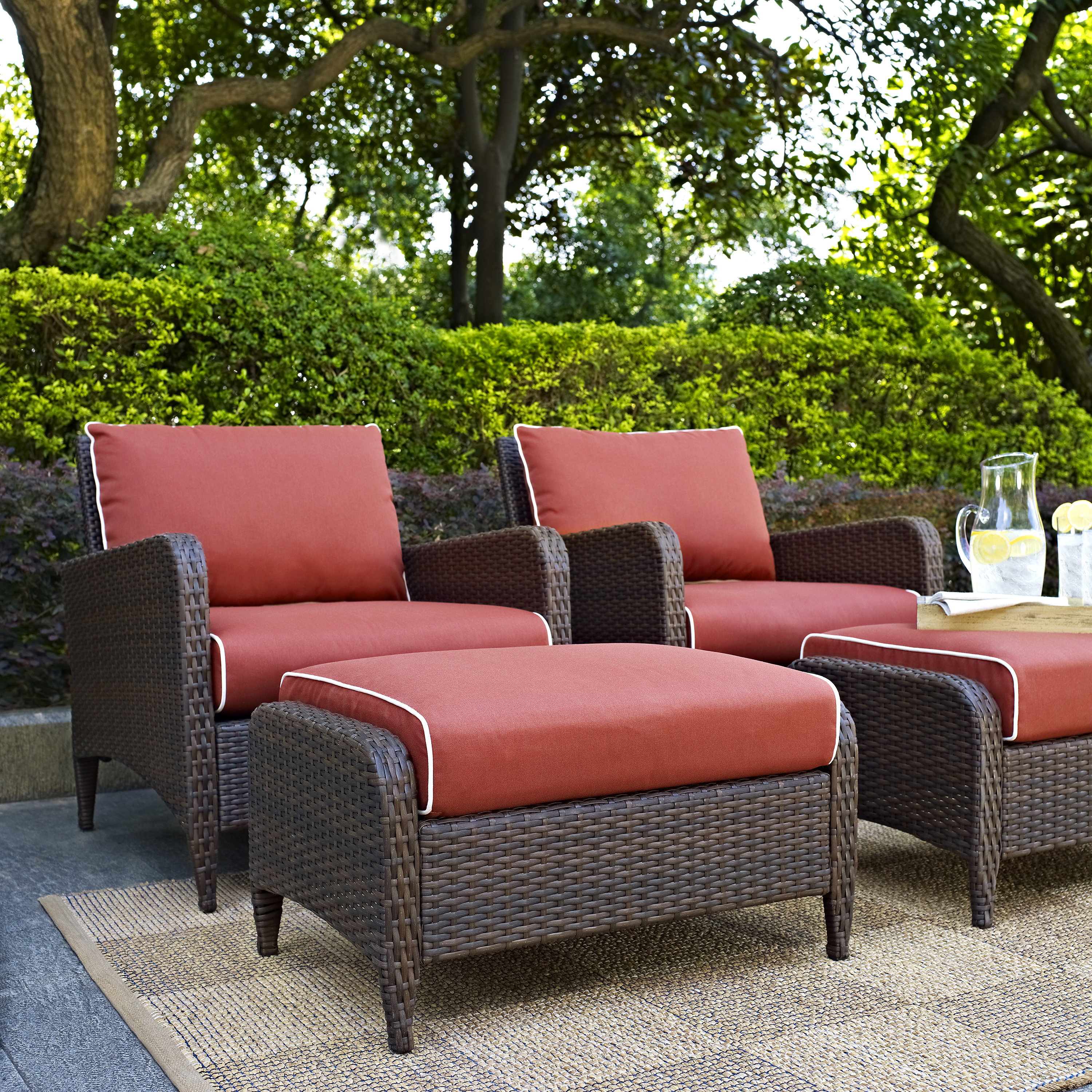 Mosca Patio Loveseats With Cushions For Famous Mosca Traditional 4 Piece Conversation Set With Cushions (View 13 of 20)