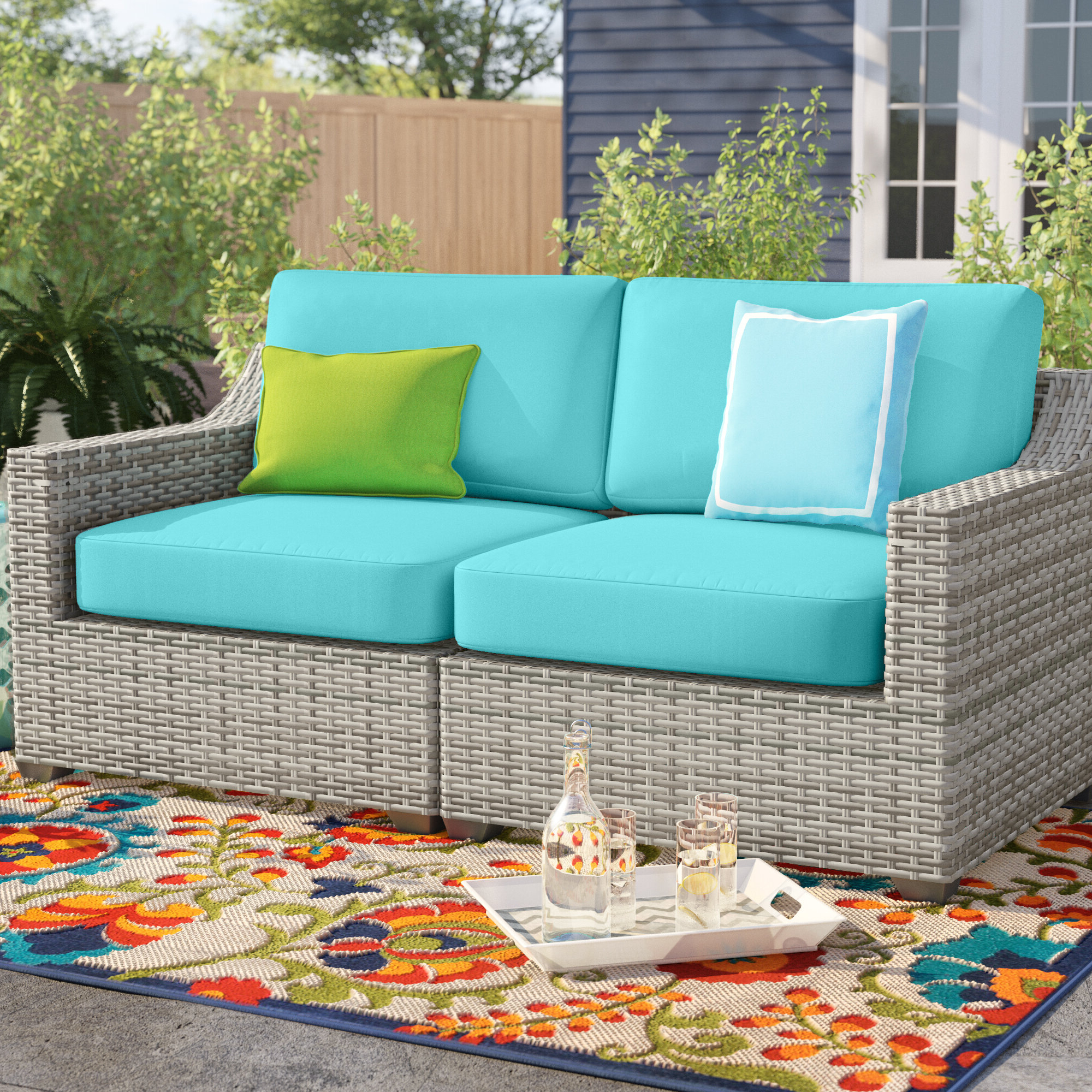 Mosca Patio Loveseats With Cushions In Popular Falmouth Loveseat With Cushions (View 10 of 20)