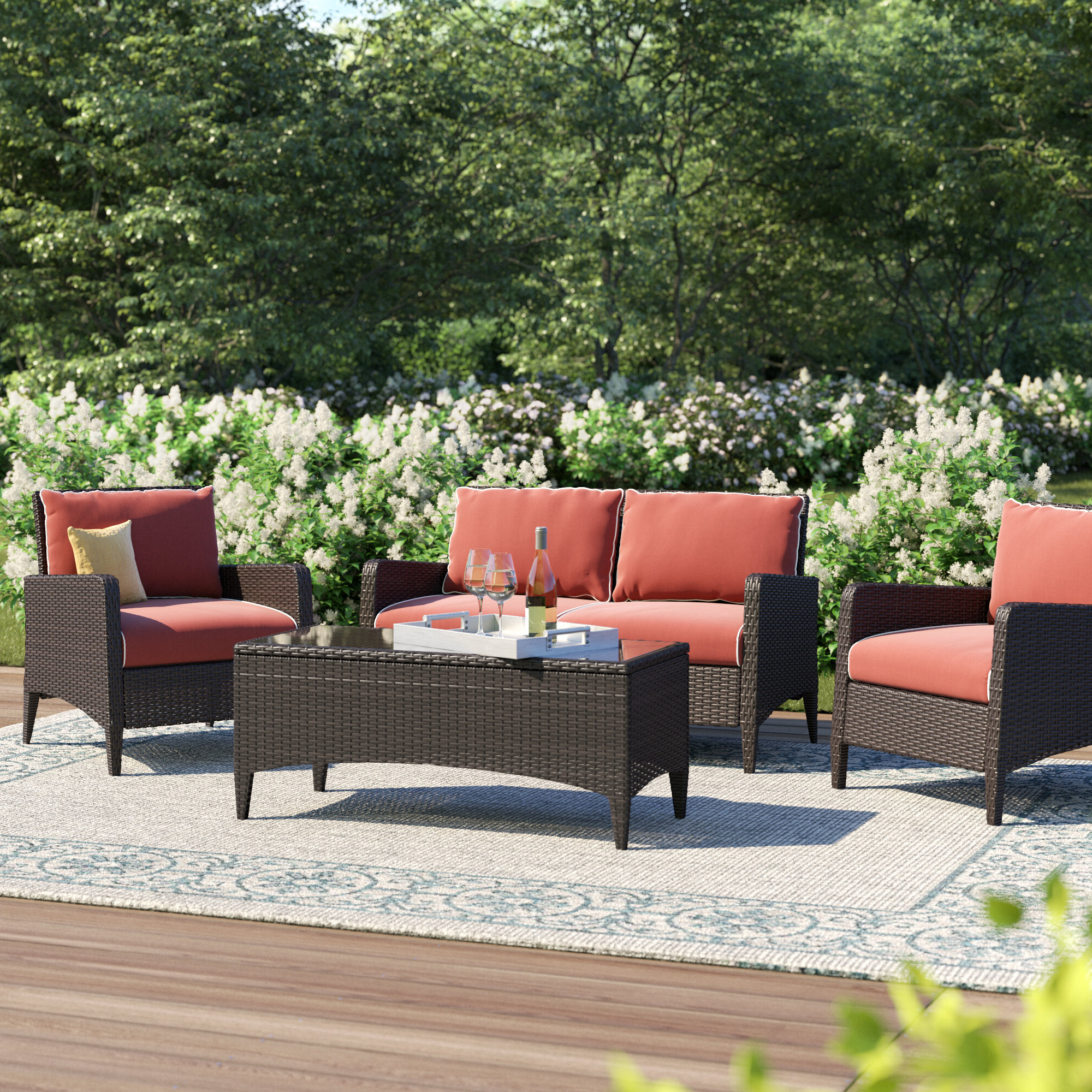 Mosca Patio Loveseats With Cushions Inside Recent Mosca 4 Piece Deep Sofa Seating Group With Cushions (View 11 of 20)
