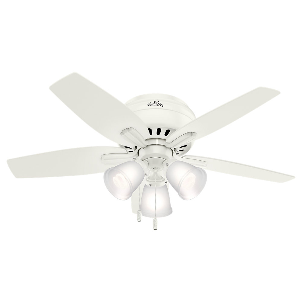 "Most Current 42"" Newsome Low Profile 5 Blade Ceiling Fan, Light Kit Included With Newsome Low Profile 5 Blade Ceiling Fans (View 3 of 20)"
