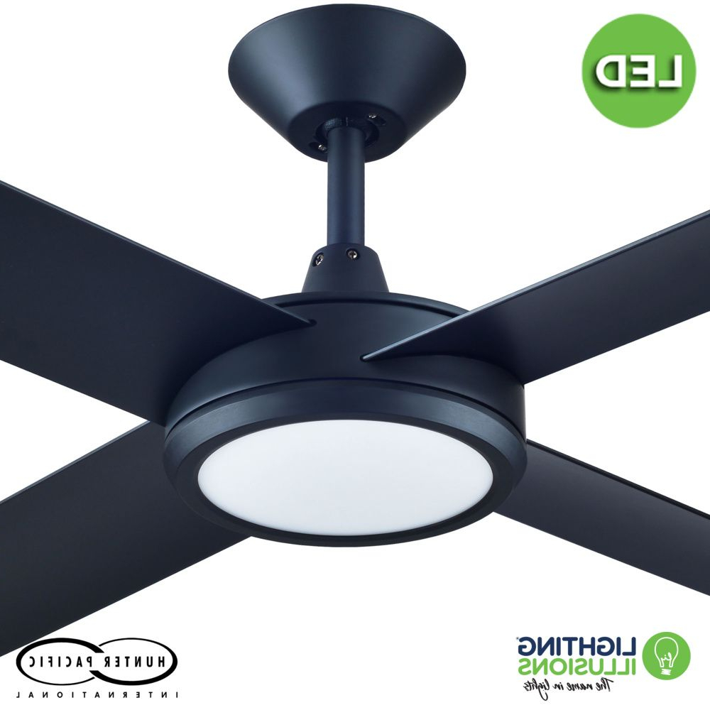 """Most Current Black Concept 3 52"""" (1320mm) Polymer Blade Ceiling Fan With 24w Dimmable Led Light Pertaining To Concept 3 Blade Led Ceiling Fans (View 17 of 20)"""