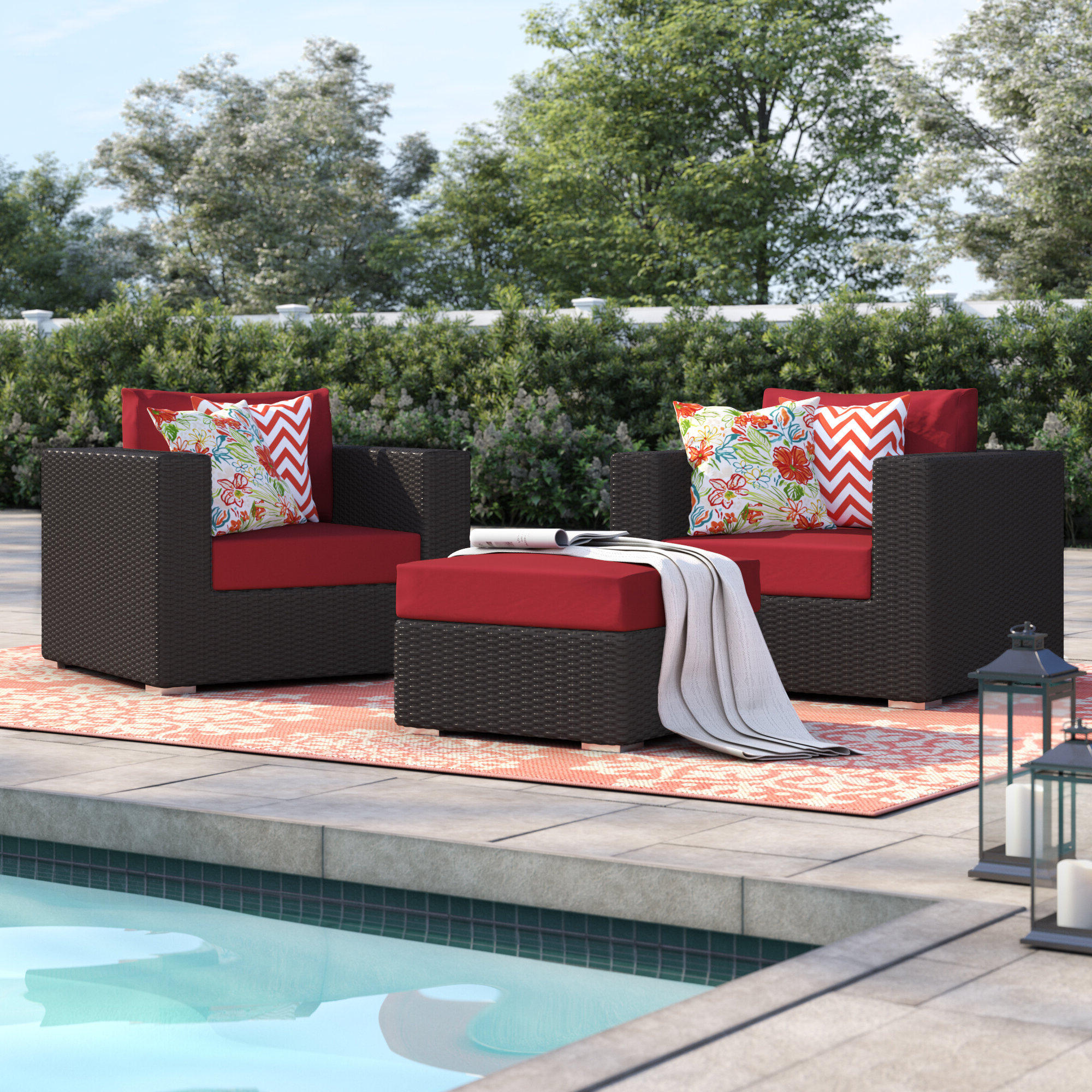 Most Current Brentwood 3 Piece Rattan Conversation Set With Cushions Throughout Brentwood Patio Sofas With Cushions (View 18 of 18)