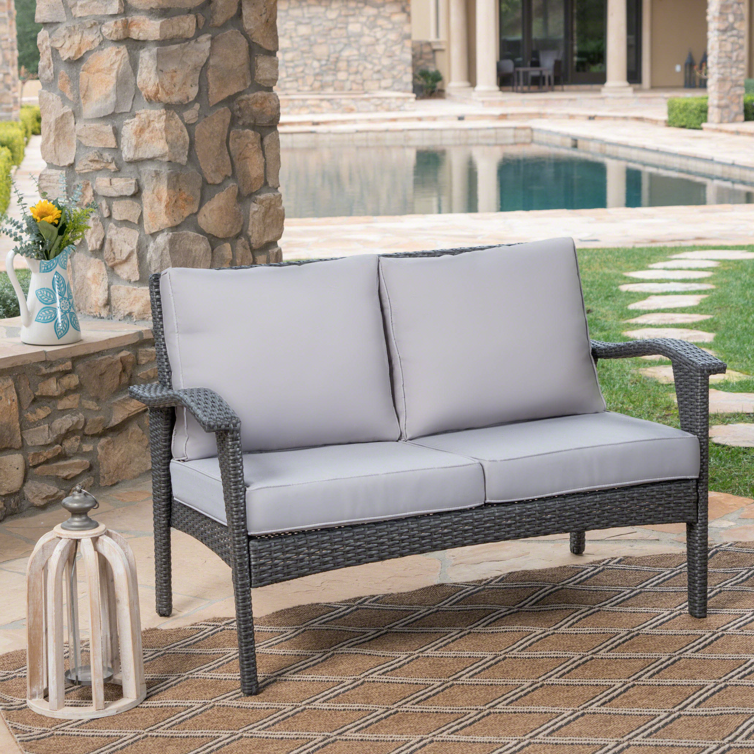 Most Current Calvin Patio Loveseats With Cushions Pertaining To Hagler Outdoor Loveseat With Cushions (View 13 of 20)