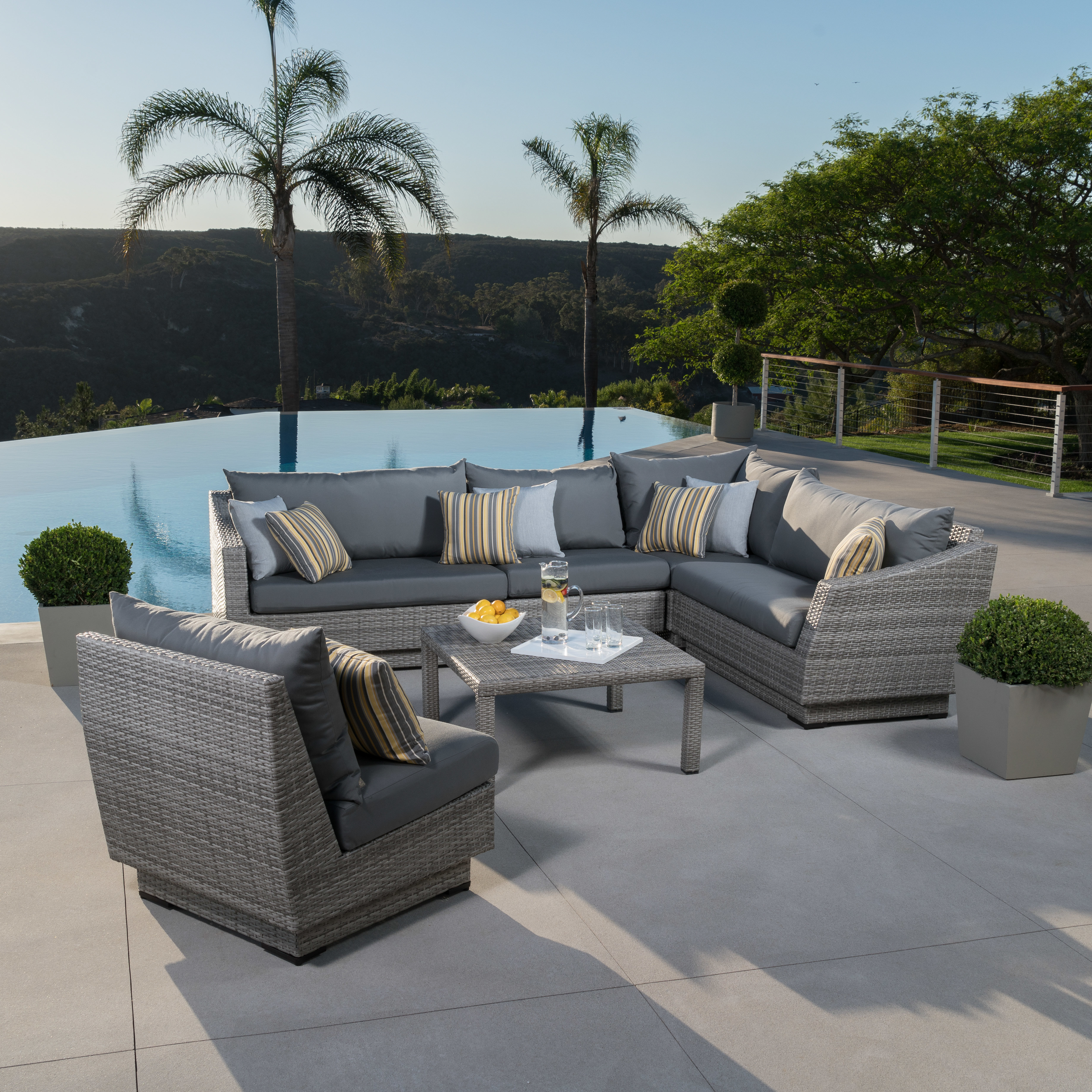 Most Current Castelli 6 Piece Sectional Set With Cushions In Castelli Patio Sofas With Sunbrella Cushions (View 14 of 20)