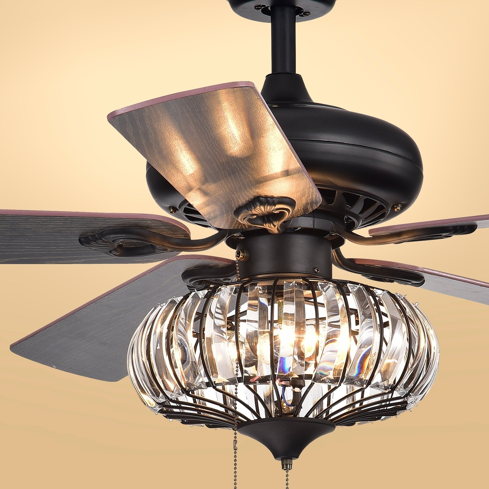 Most Current Chrysaor 3 Light Crystal 5 Blade 52 Inch Brown Ceiling Fan (optional Remote) Inside Caged Crystal 5 Blade Ceiling Fans (View 11 of 20)