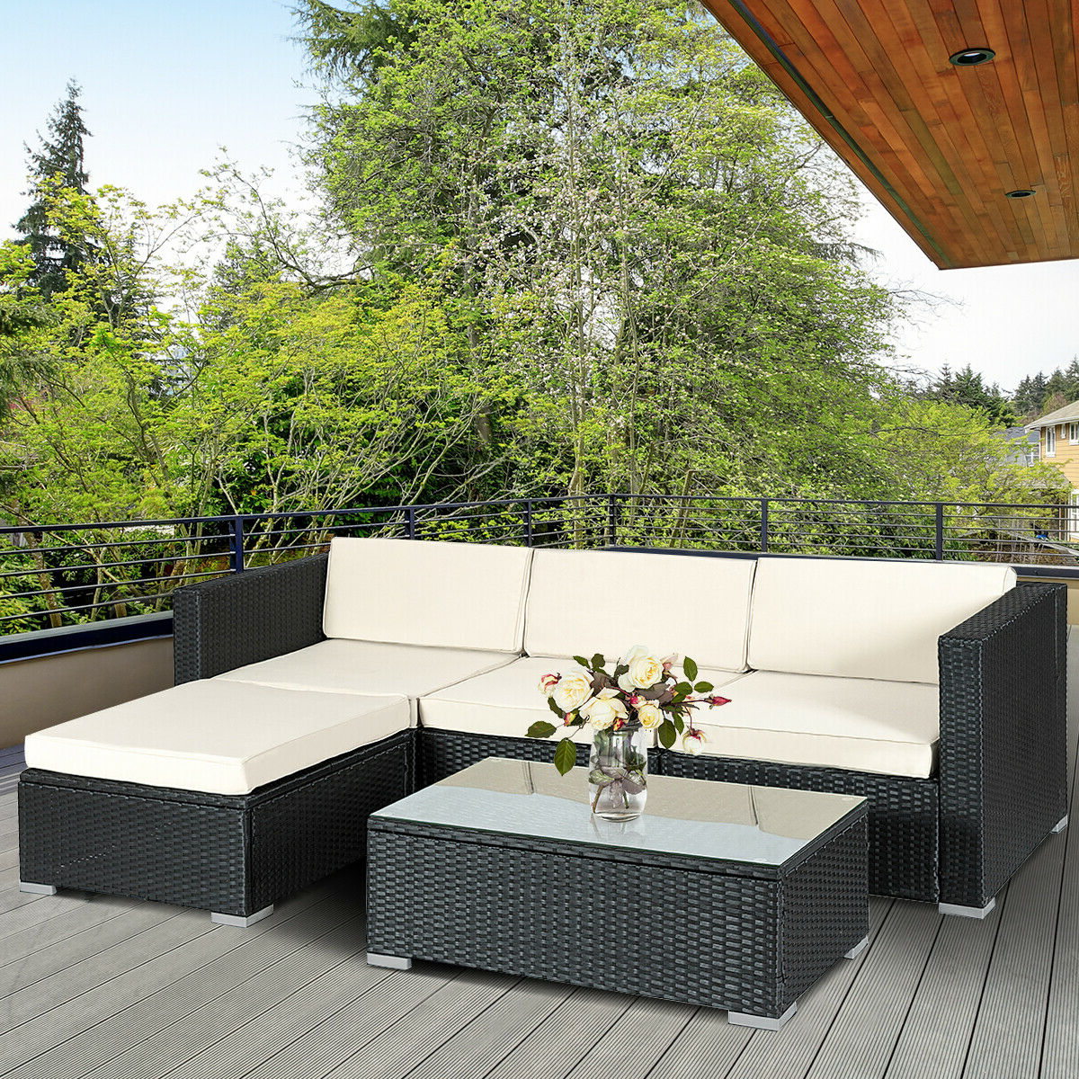 Most Current Costway 5 Pcs Patio Furniture Set Rattan Wicker Table Shelf Garden Sofa W/  Cushion Black Regarding Furst Patio Sofas With Cushion (View 13 of 20)
