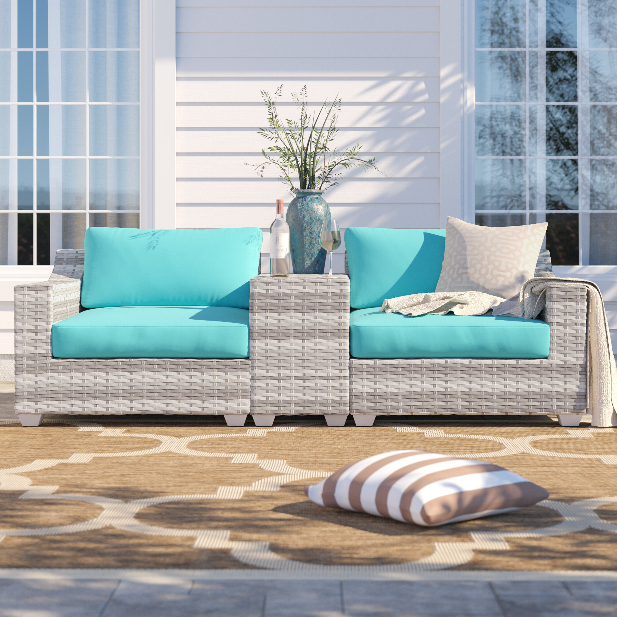 Most Current Falmouth Loveseats With Cushions With Regard To Falmouth 3 Piece Rattan Conversation Set With Cushions (View 9 of 20)