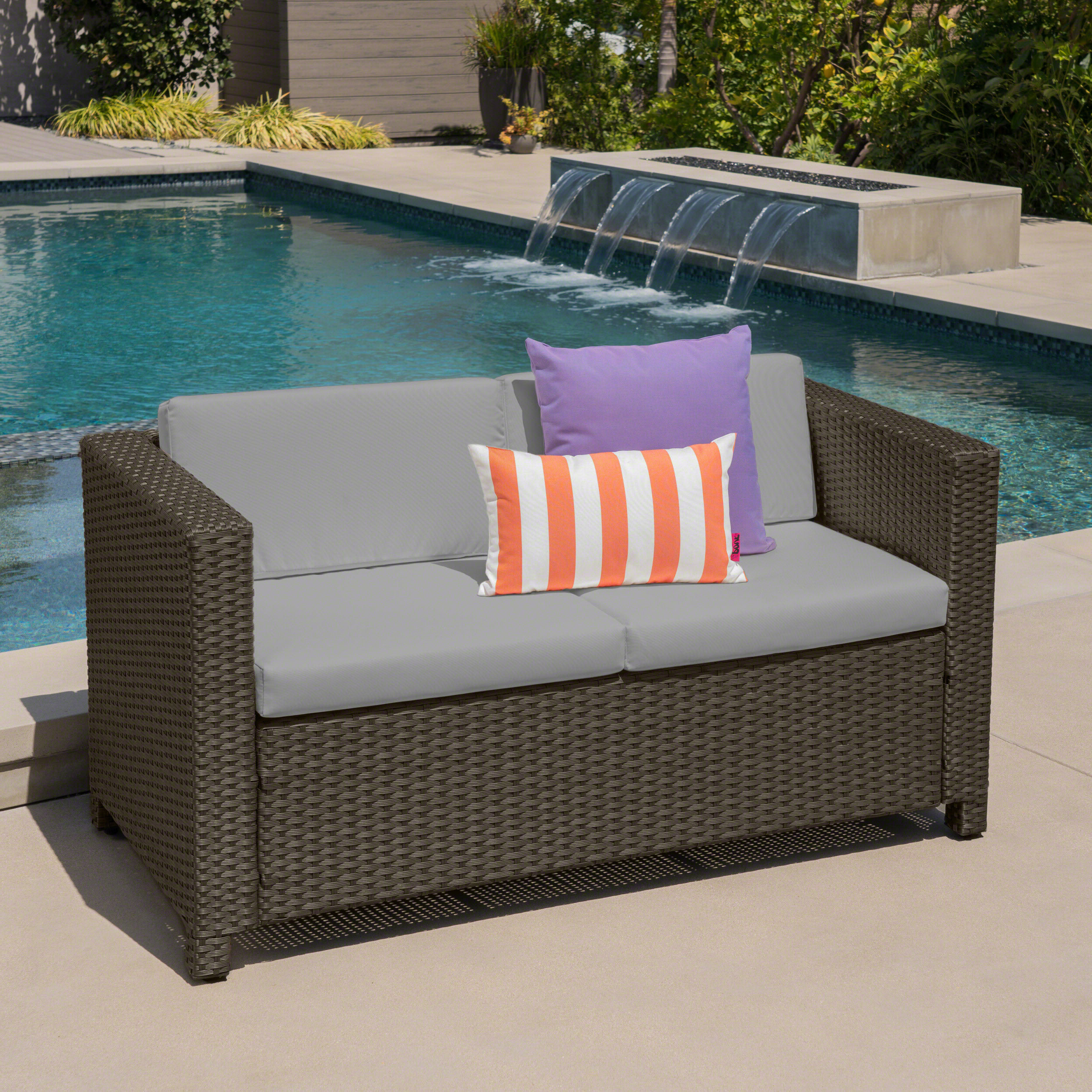 Most Current Furst Outdoor Loveseat With Cushions With Regard To Behling Canopy Patio Daybeds With Cushions (View 21 of 25)