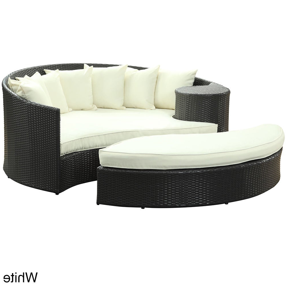 Most Current Greening Outdoor Daybeds With Ottoman & Cushions For Modway 'taiji' Outdoor Wicker Patio Daybed With Ottoman And Cushions (View 10 of 20)