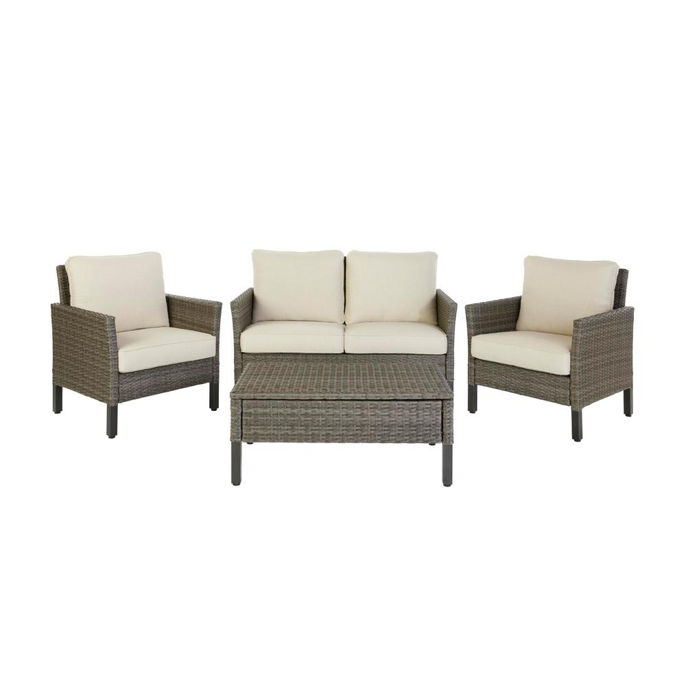 Most Current Hampton Bay Paloma Lake 4 Piece Aluminum Seating Set With Putty Cushions Within Paloma Sectionals With Cushions (View 8 of 20)