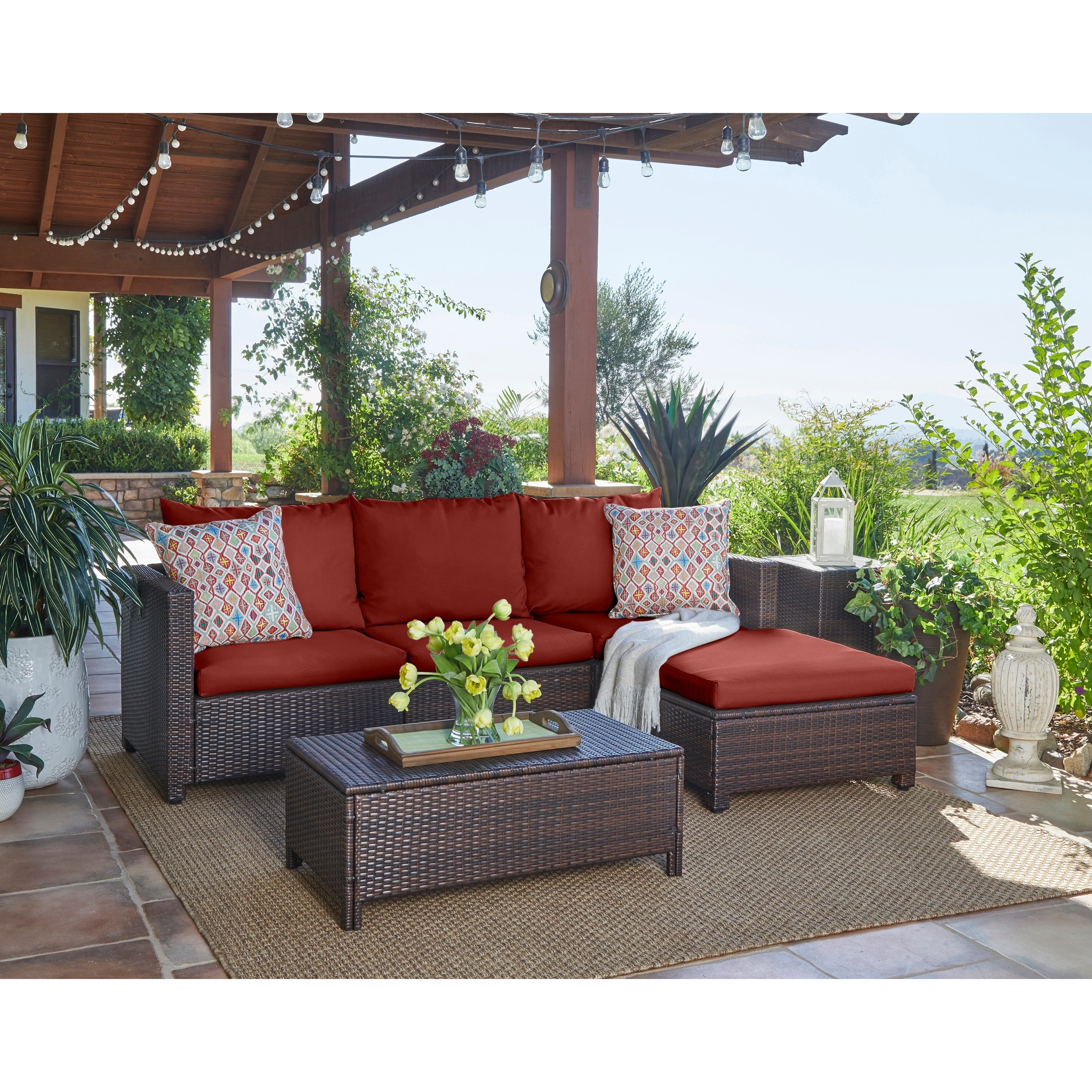 Most Current Havenside Home Stillwater Indoor/outdoor Brown Resin Rattan Sectional With  Table And Terracotta Cushions Within Tess Corner Living Patio Sectionals With Cushions (View 7 of 20)