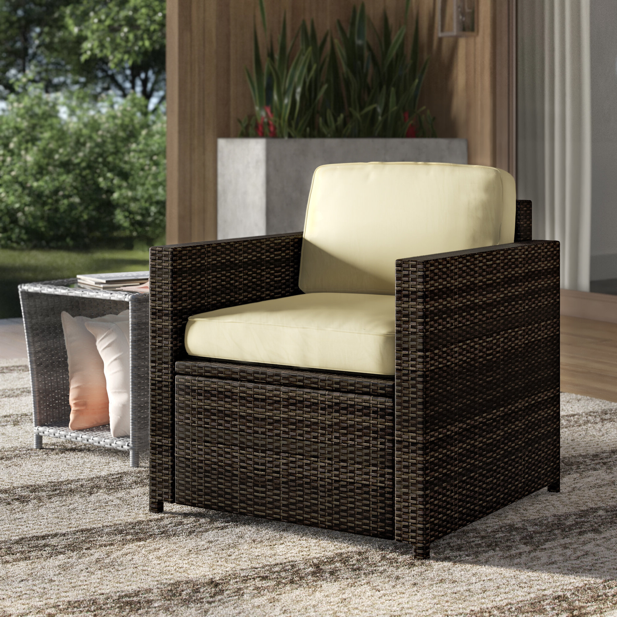 Most Current Katzer Patio Sofas With Cushions With Mercury Row Belton Outdoor Wicker Deep Seating Patio Chair (View 14 of 20)