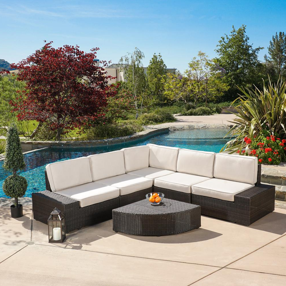 Most Current Noble House San Vicente Brown 6 Piece Wicker Outdoor Sectional Set With  Sunbrella Cushions Within Tess Corner Living Patio Sectionals With Cushions (View 8 of 20)