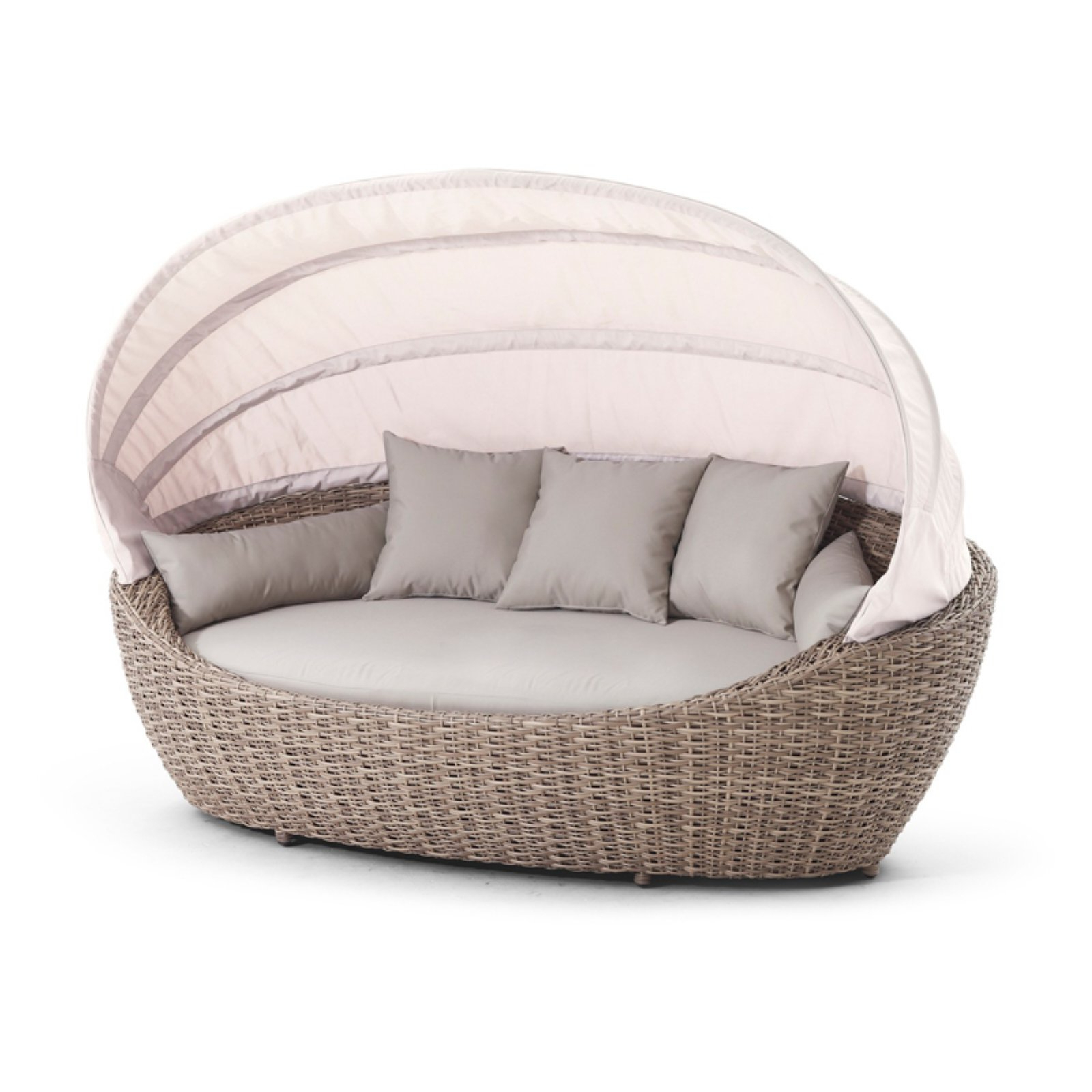 Most Current Outdoor Domus Ventures Paradise Large Wicker Patio Daybed For Olu Bamboo Large Round Patio Daybeds With Cushions (View 9 of 20)
