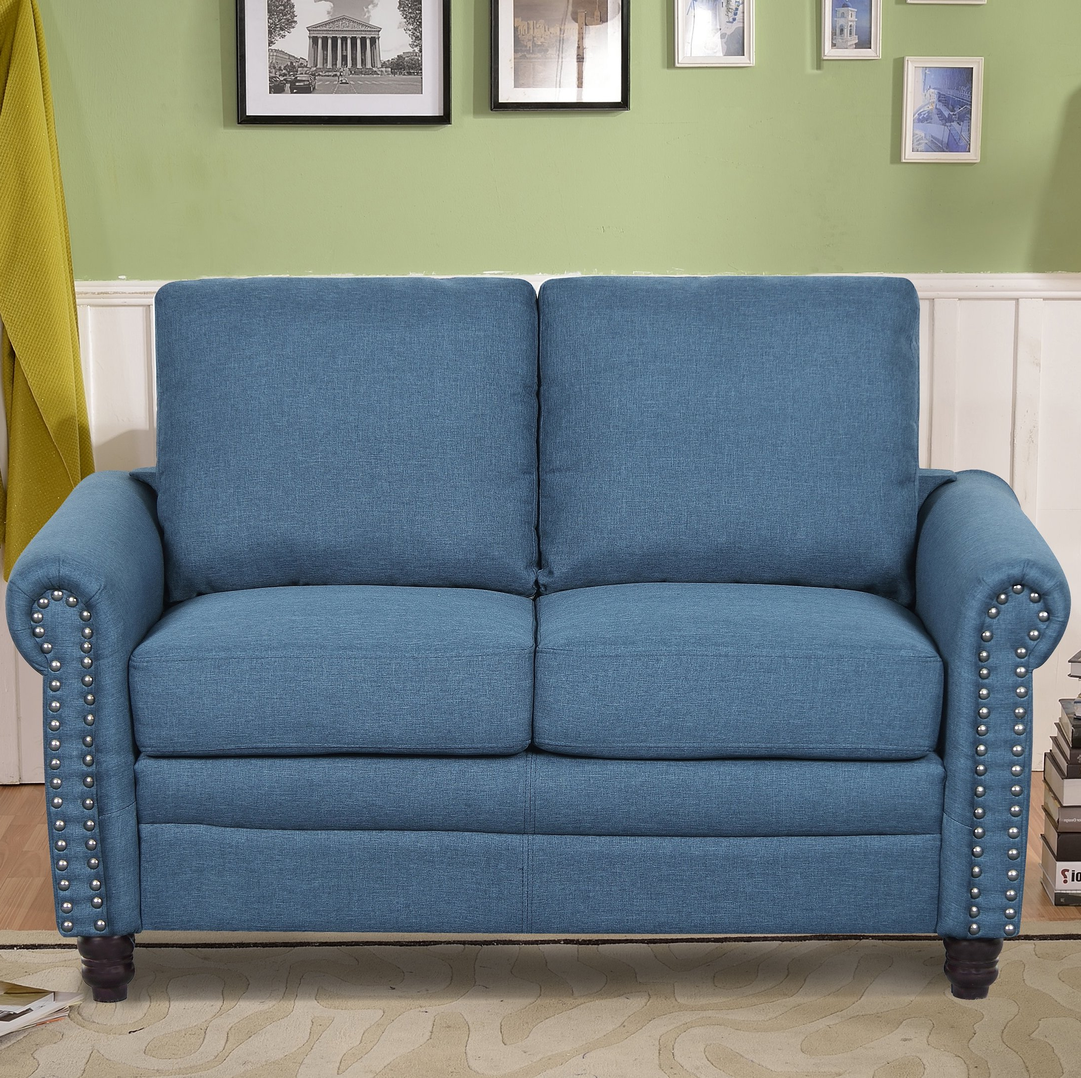 Most Current Rosalind Linen Upholstered Loveseat In Owens Loveseats With Cushion (View 20 of 20)