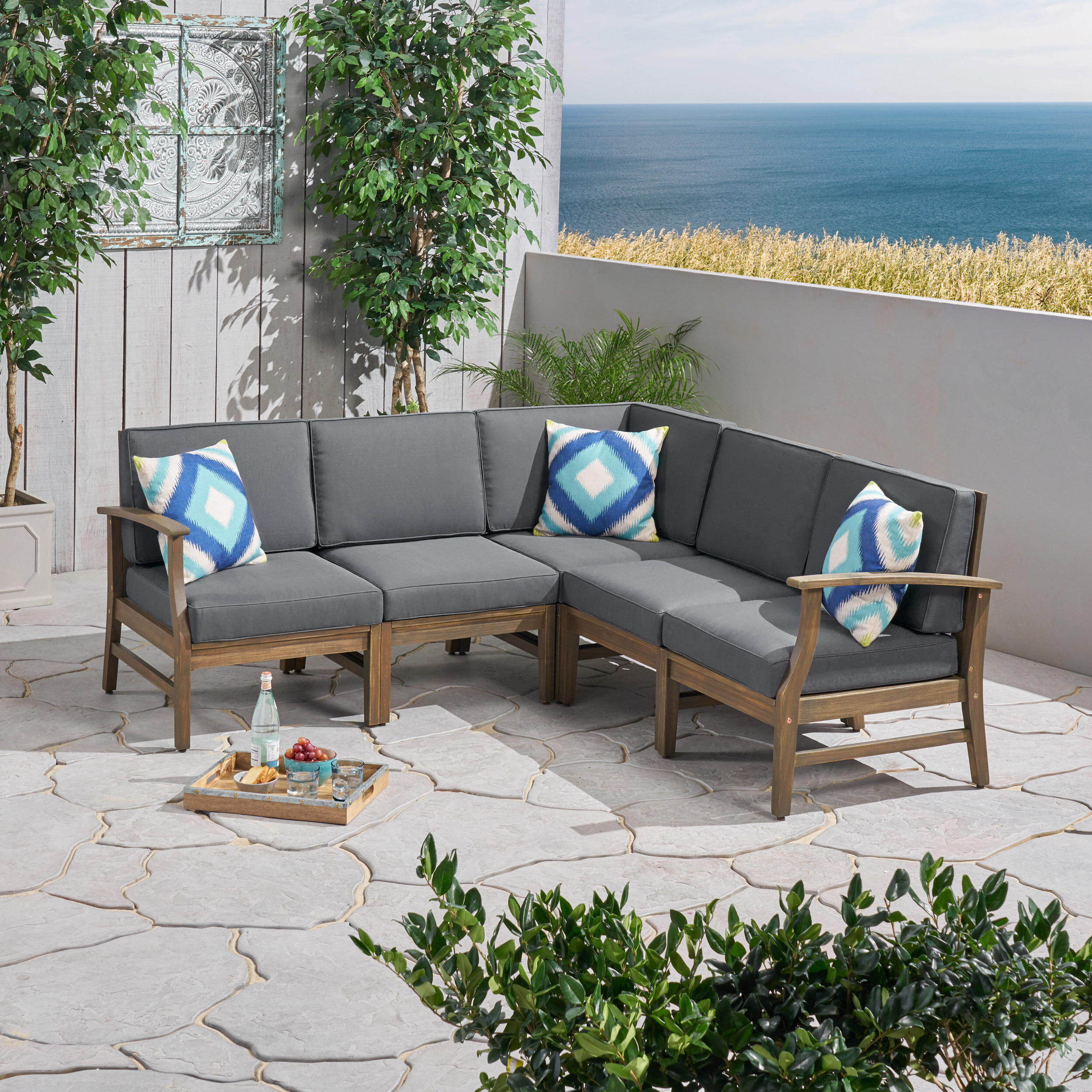 Most Current Tess Corner Living Patio Sectionals With Cushions For Brickhouse Patio Sectional With Cushions (View 9 of 20)