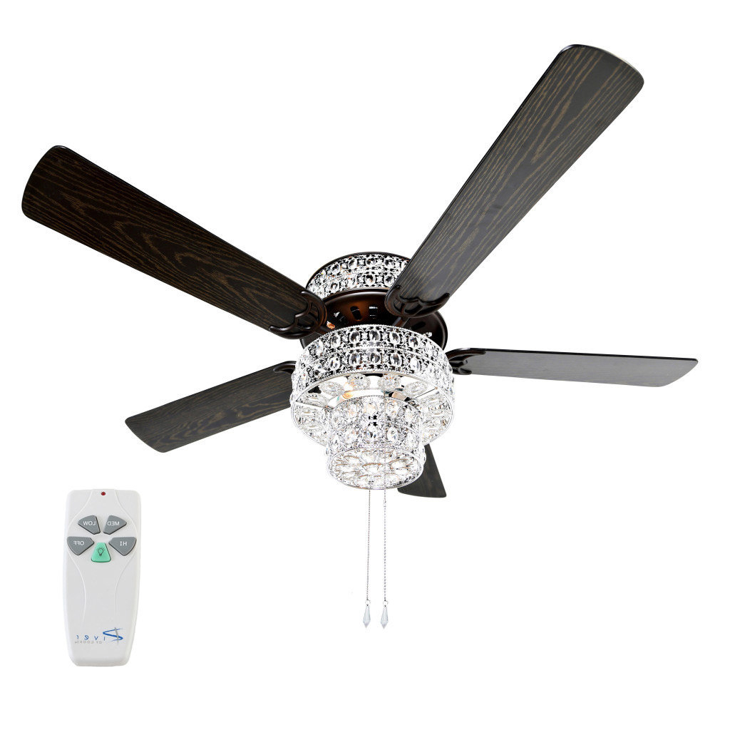"Most Popular 52"" Tibuh Punched Metal Crystal 5 Blade Ceiling Fan With Remote Inside Njie Caged Crystal 5 Blade Ceiling Fans (View 5 of 20)"