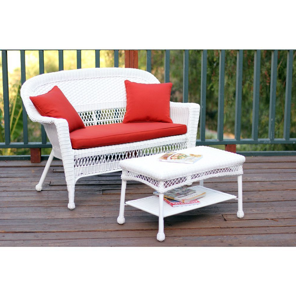 Most Popular Alburg Loveseats With Cushions Intended For White Wicker Loveseat And Coffee Table Outdoor Patio Set (View 15 of 25)