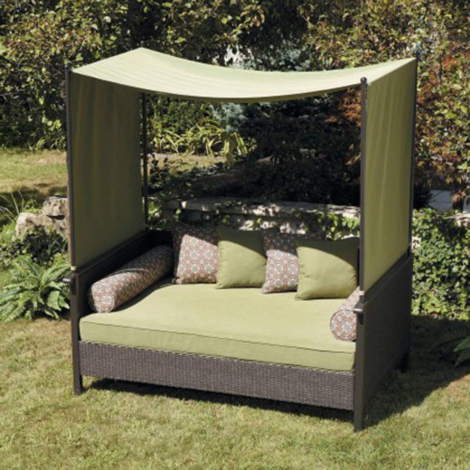 Most Popular Aubrie Patio Daybeds With Cushions For Better Homes & Gardens Providence Outdoor Day Bed Green (View 15 of 25)
