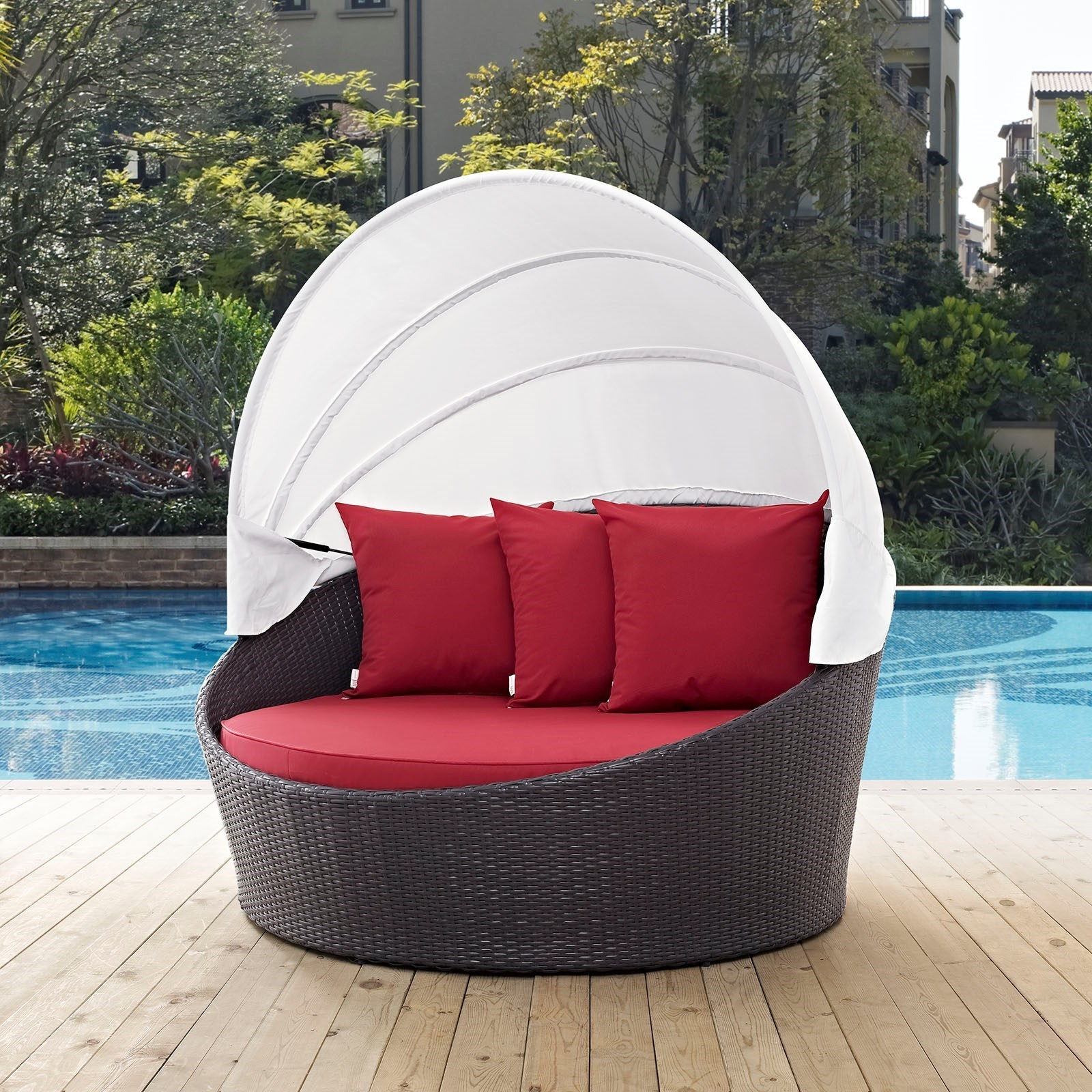 Most Popular Behling Canopy Patio Daybeds With Cushions With Furniture: Cool Patio Daybed With Alluring Cushions For (View 24 of 25)