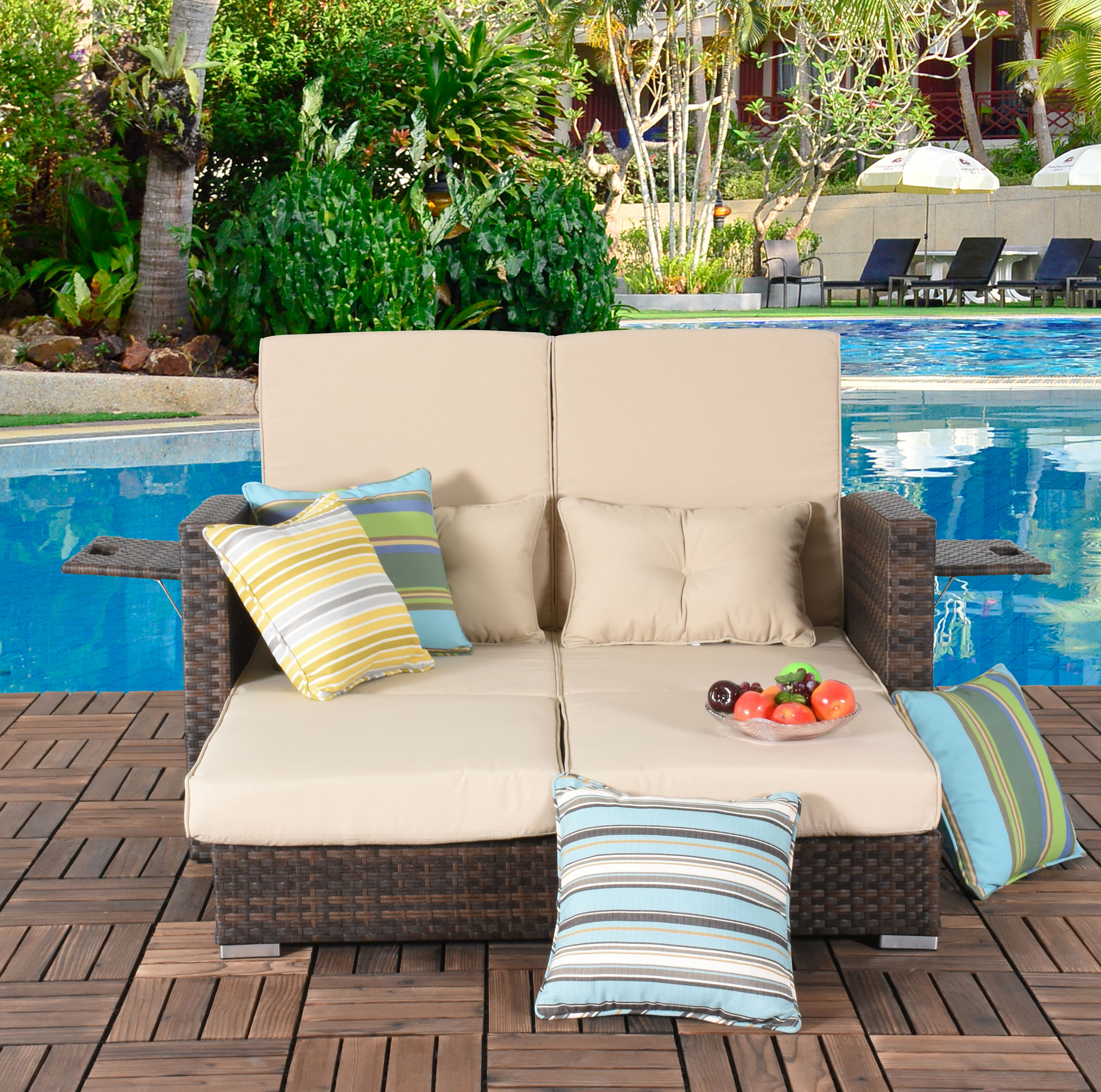 Most Popular Cabrillo Patio Daybed With Cushions Inside Beal Patio Daybeds With Cushions (View 16 of 25)