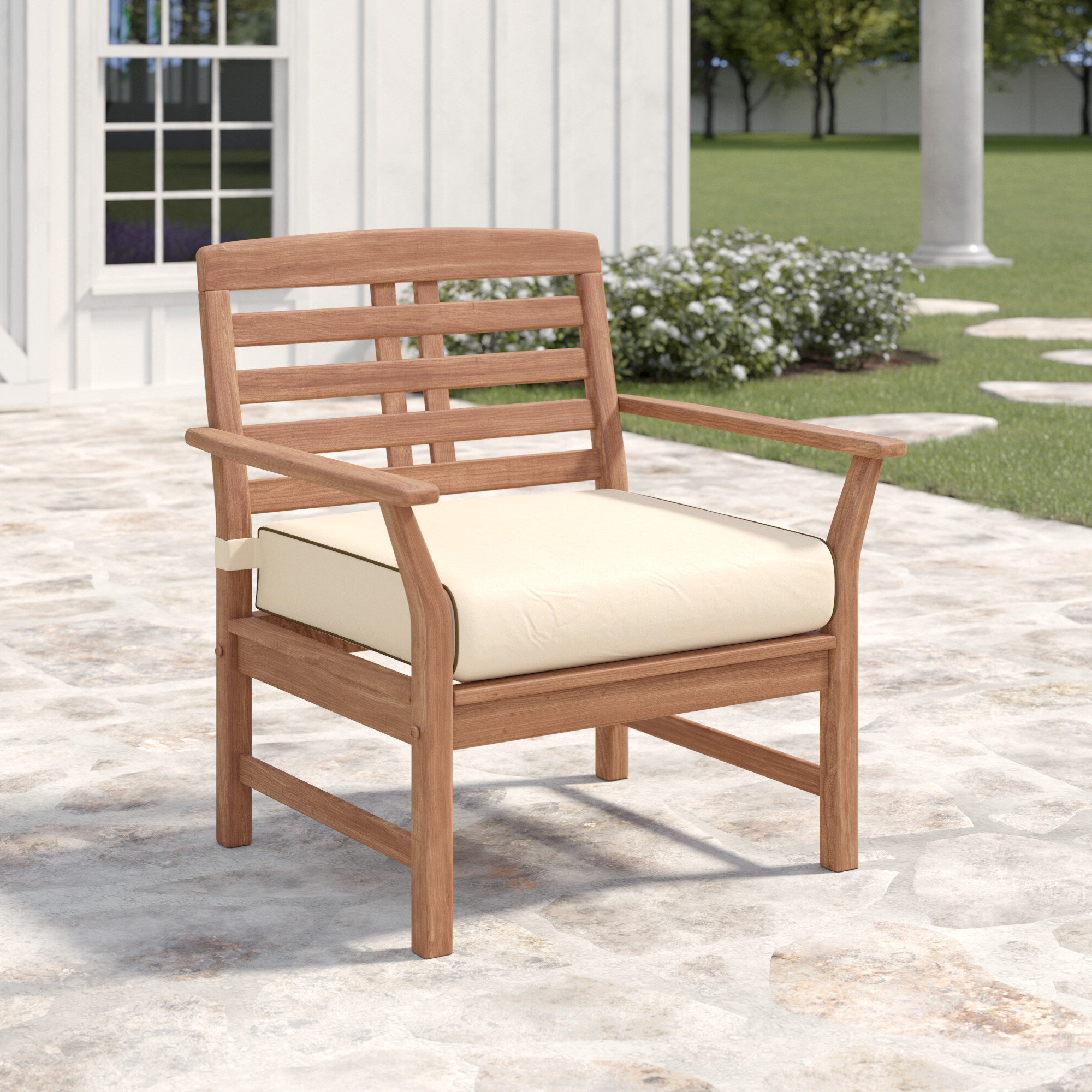 Most Popular Calila Teak Patio Chair With Cushions Regarding Tim X Back Patio Loveseats With Cushions (View 20 of 20)