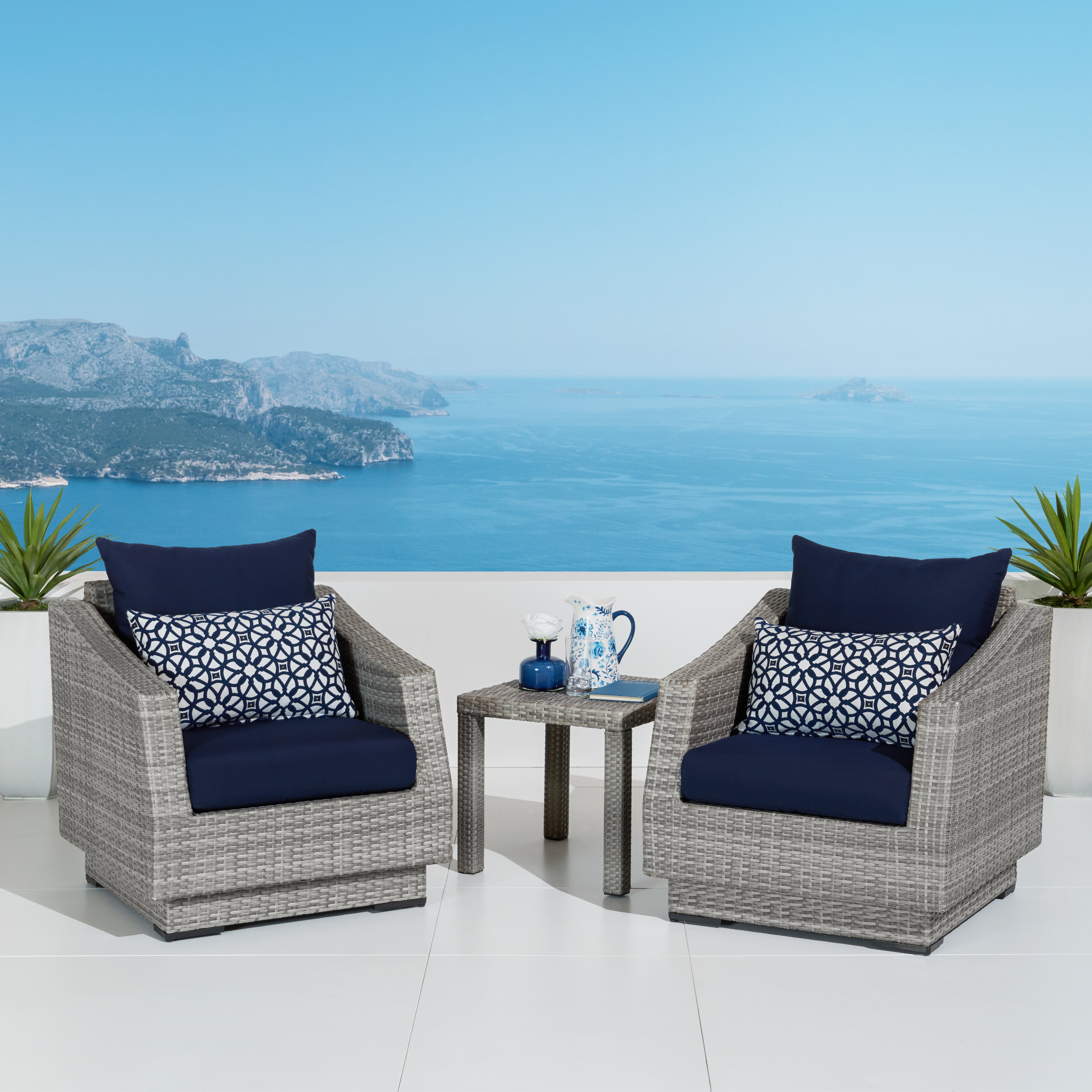 Most Popular Castelli Loveseats With Cushions In Castelli 3 Piece Conversation Set With Cushions (View 12 of 20)