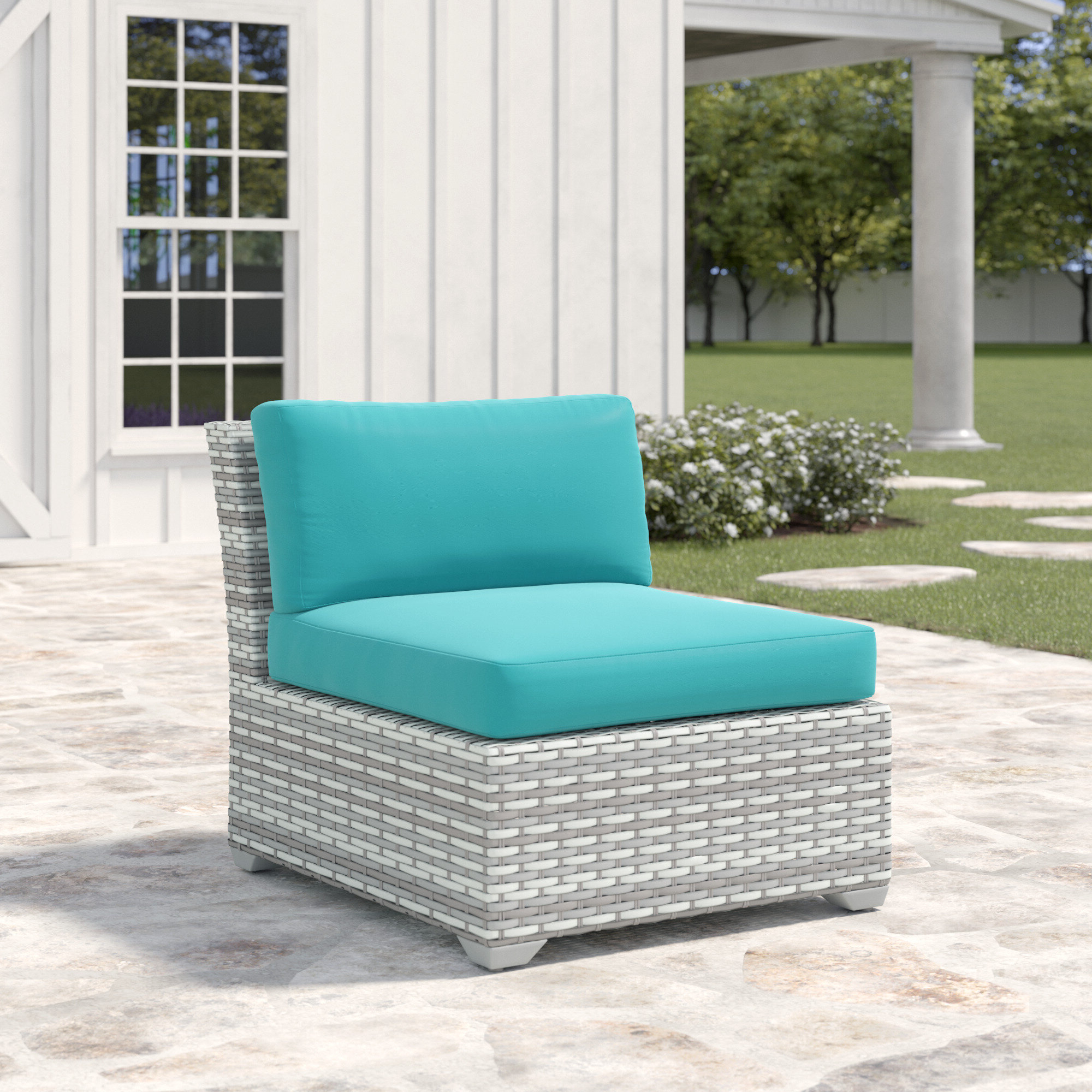 Most Popular Falmouth Armless Patio Chair With Cushions With Meeks Patio Sofas With Cushions (View 16 of 20)