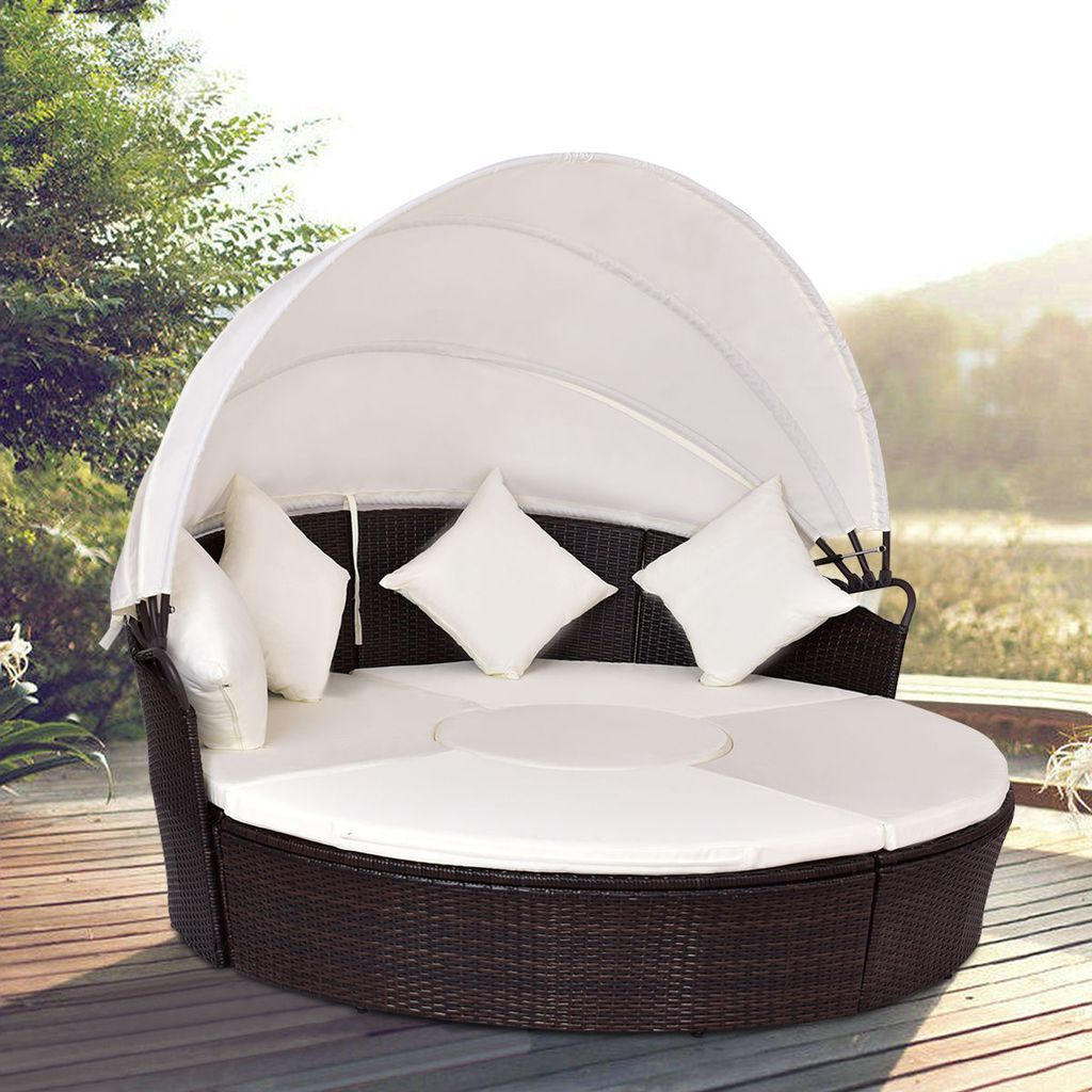 Most Popular Giantex Outdoor Patio Canopy Cushioned Daybed Round Pertaining To Brentwood Canopy Patio Daybeds With Cushions (View 9 of 25)