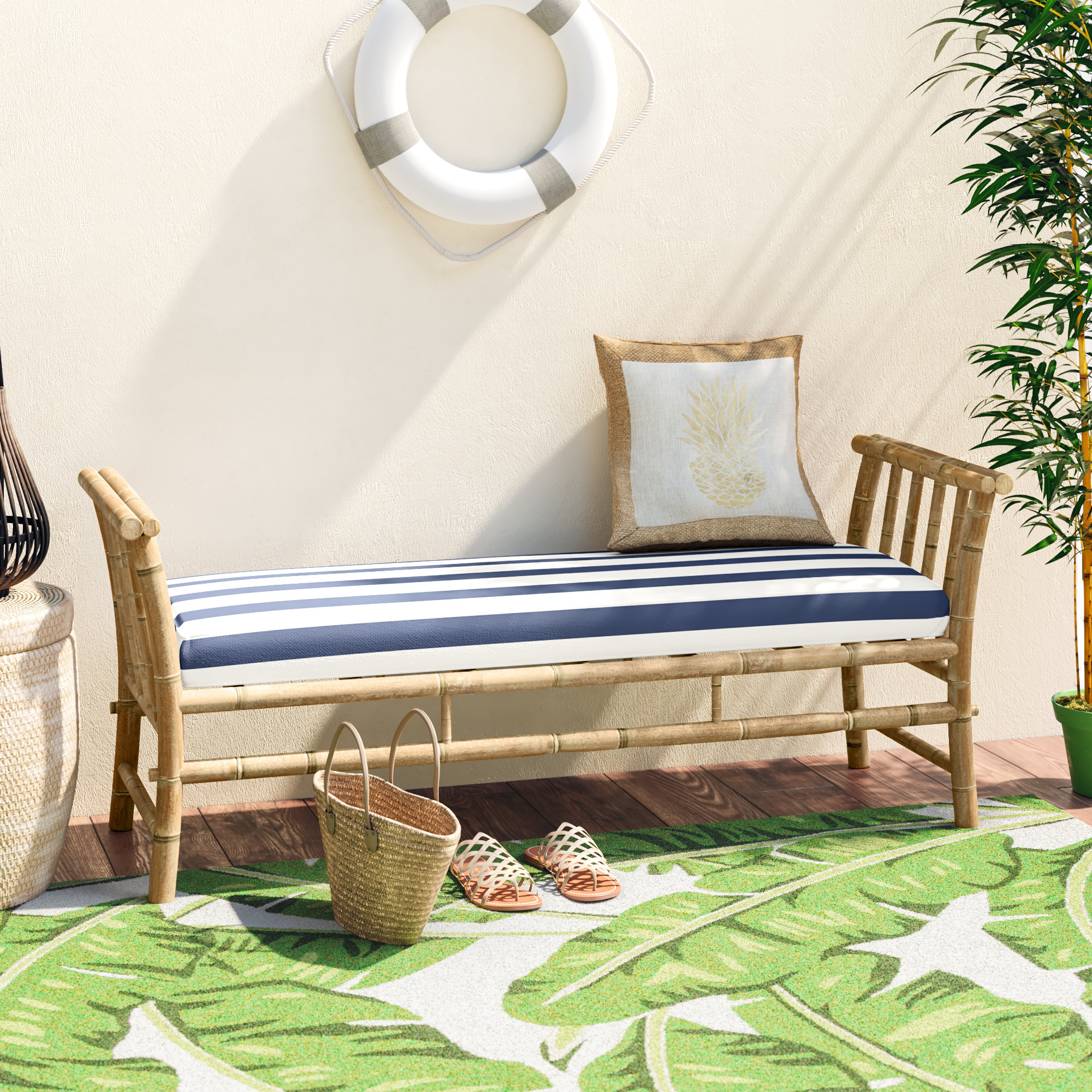 Featured Photo of Grosvenor Bamboo Patio Daybeds With Cushions