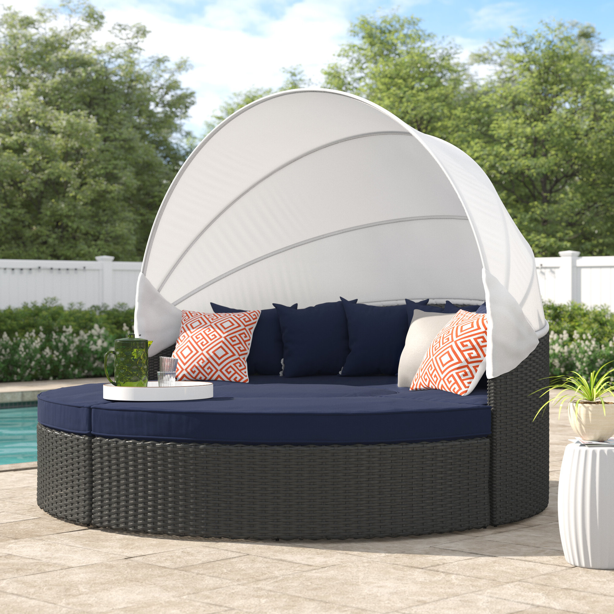 Most Popular Harlow Patio Daybeds With Cushions Intended For Tripp Patio Daybed With Sunbrella Cushions (View 14 of 20)