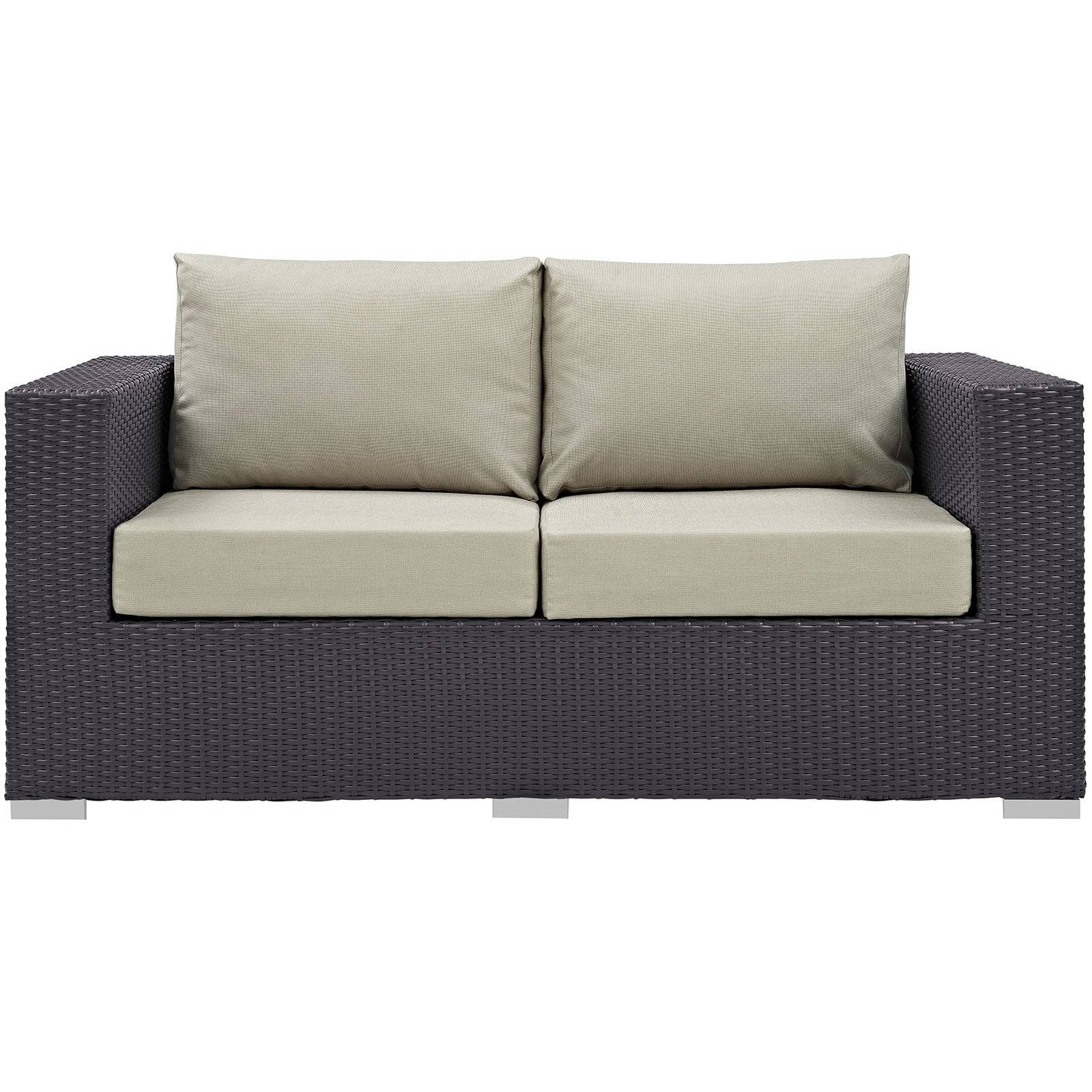 Most Popular Loggins Loveseats With Cushions Throughout Modway Convene Wicker Outdoor Loveseat White (View 17 of 20)