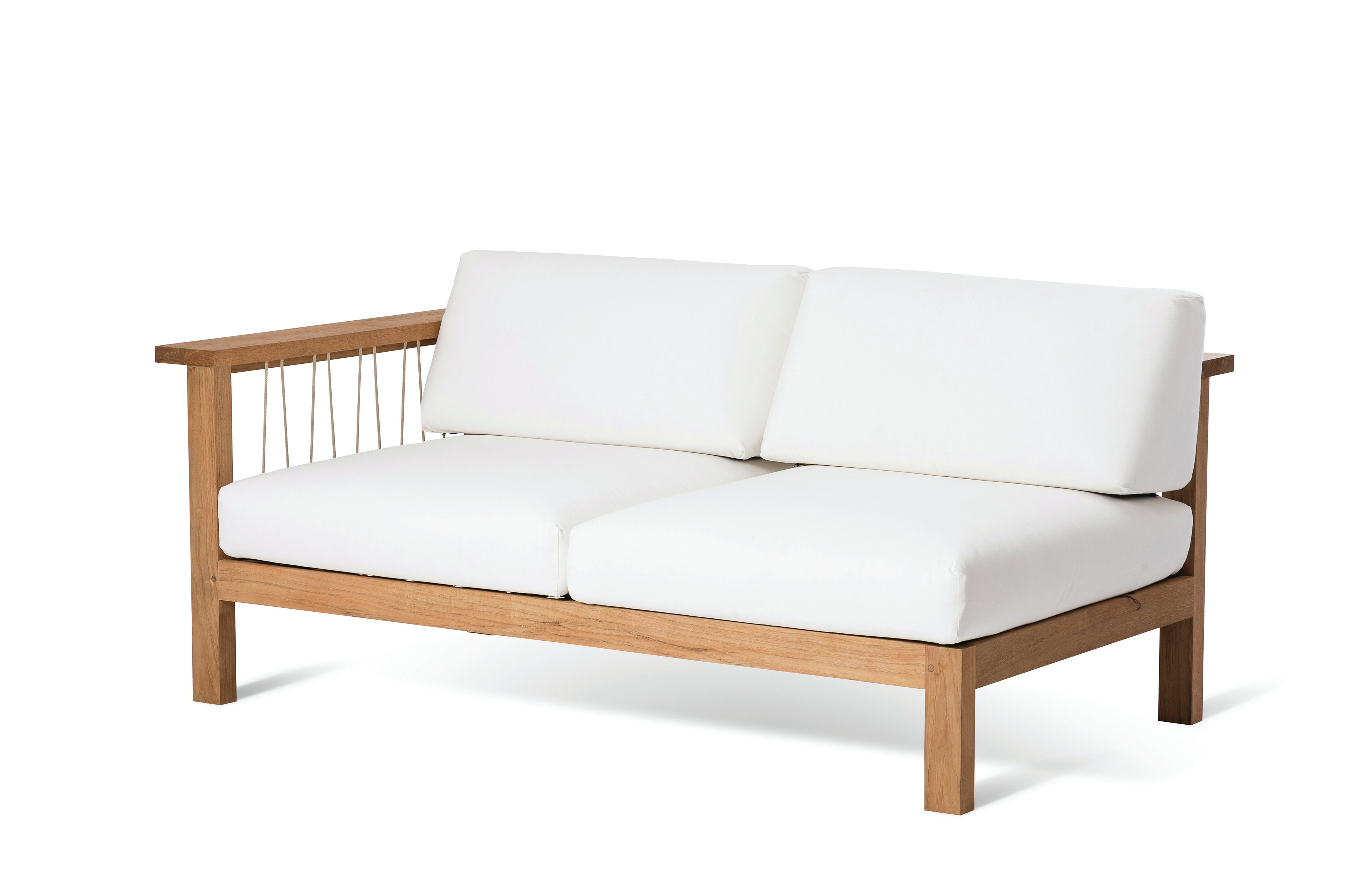 Most Popular Mansfield Teak Loveseats With Cushion In Maro Teak Right Arm Loveseat With Sunbrella Cushions (View 16 of 20)