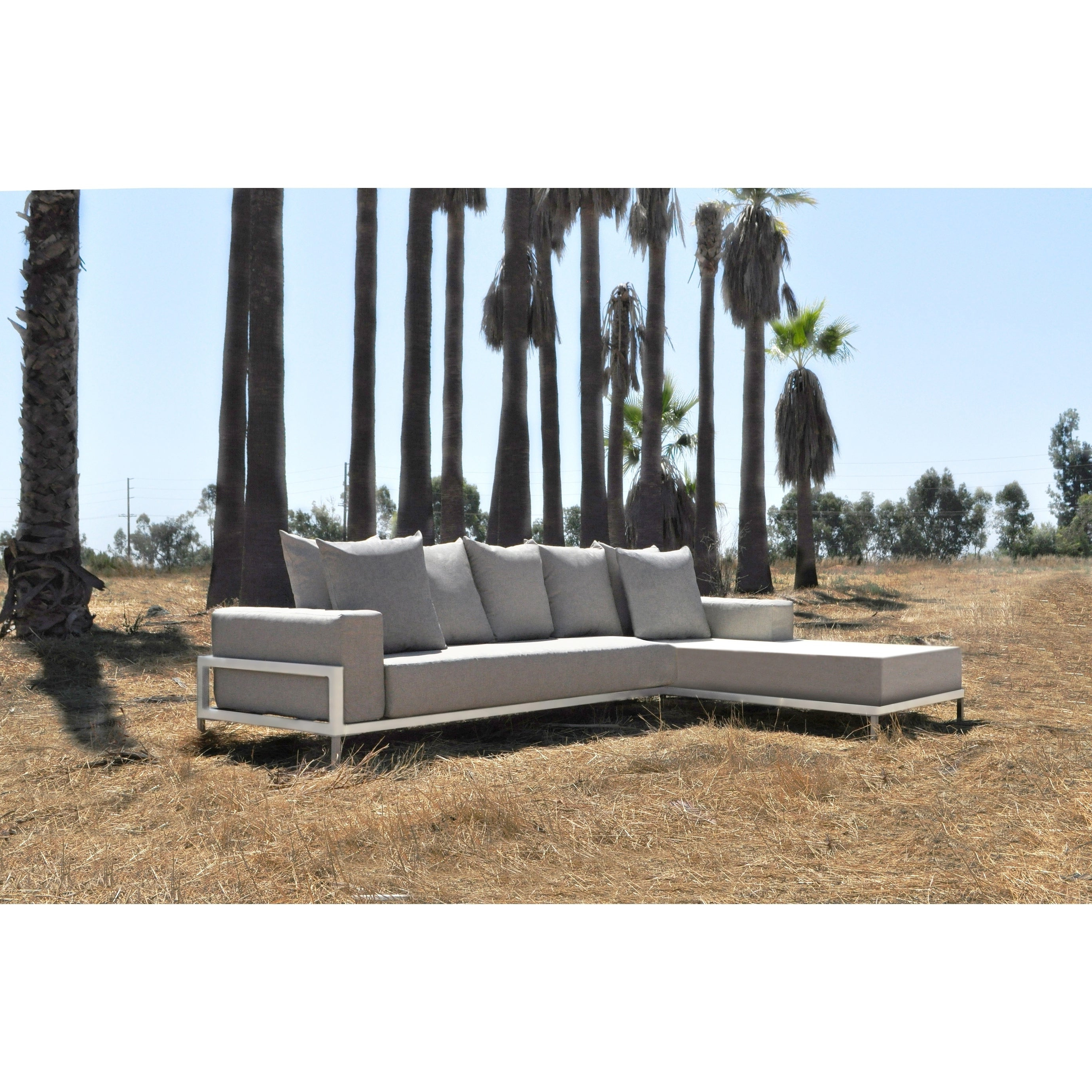 Most Popular Paloma Sectionals With Cushions With Regard To Solis Nubis Sectional Outdoor Deep Seated 2 Piece Patio Set – Textured  White Frame, Pebble Cream Cushions (View 9 of 20)