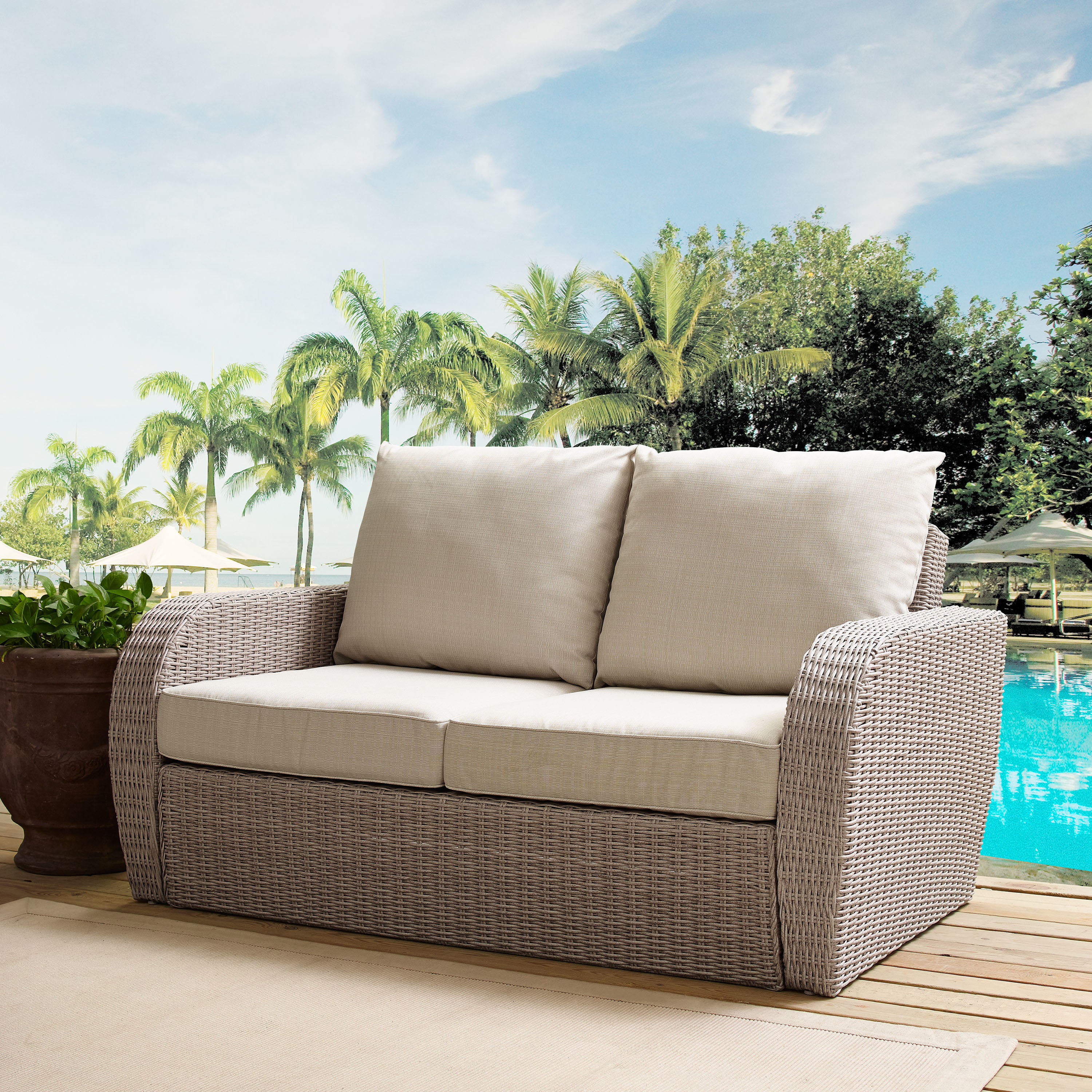 Most Popular Zakrzewski Wicker Loveseat With Cushion Intended For Vardin Loveseats With Cushions (View 14 of 20)