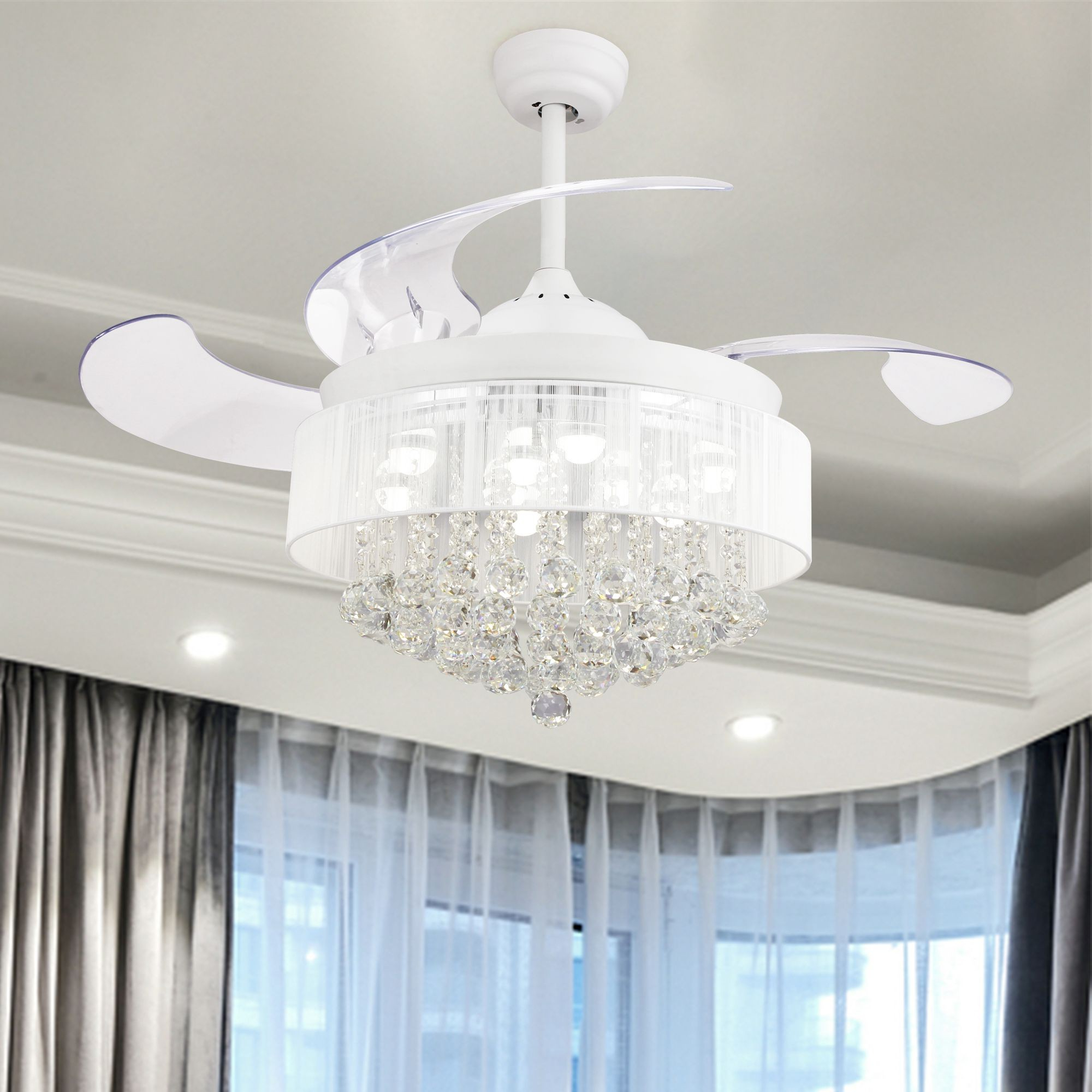 """Most Recent 46"""" Broxburne Modern Crystal Retractable Ceiling Fan With Led Lights And  Remote Control, White Intended For Broxburne 4 Blade Led Ceiling Fans With Remote (View 16 of 20)"""