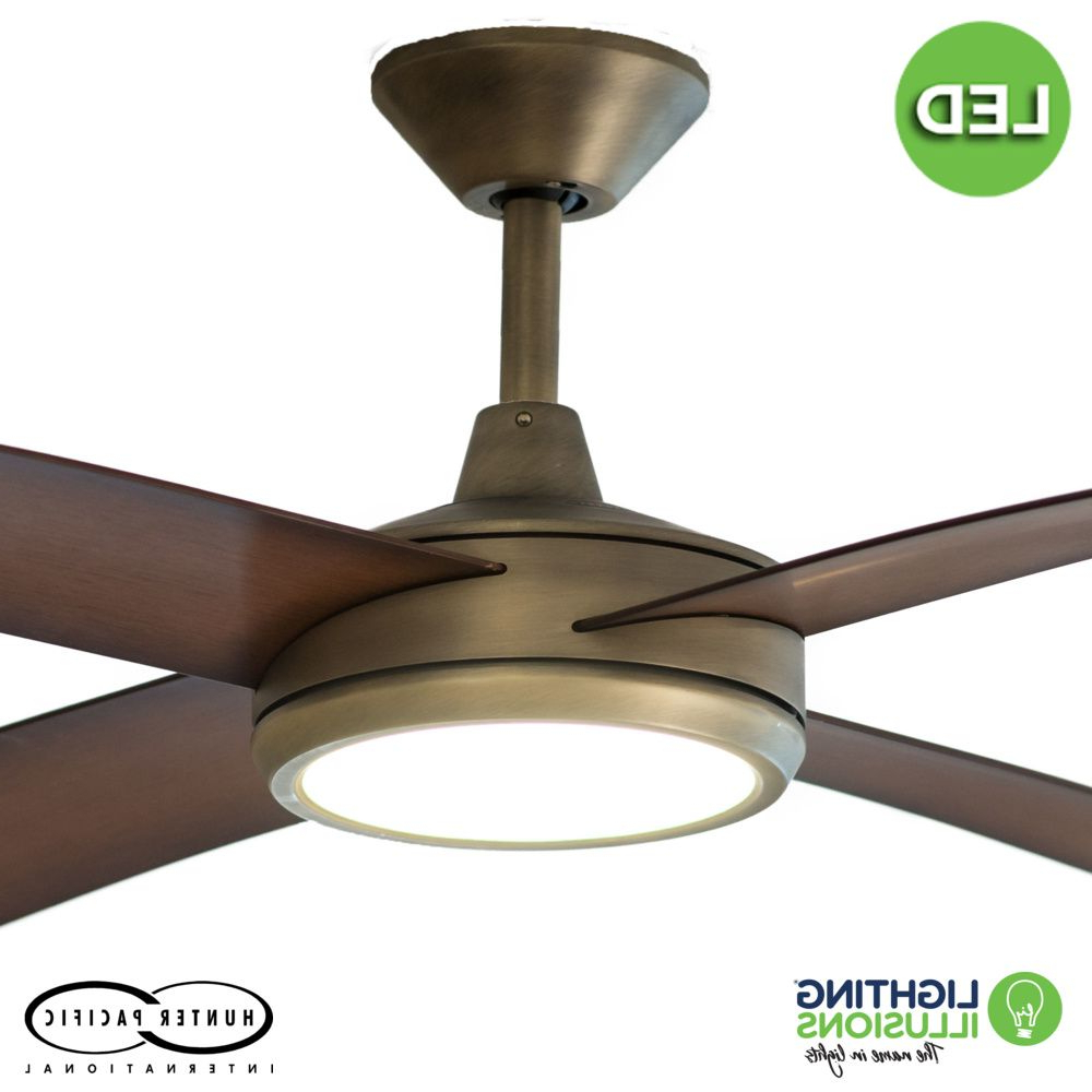 """Most Recent Antique Brass Concept 3 52"""" (1320Mm) Polymer Blade Ceiling Fan With 24W  Dimmable Led Light With Concept 3 Blade Led Ceiling Fans (View 16 of 20)"""