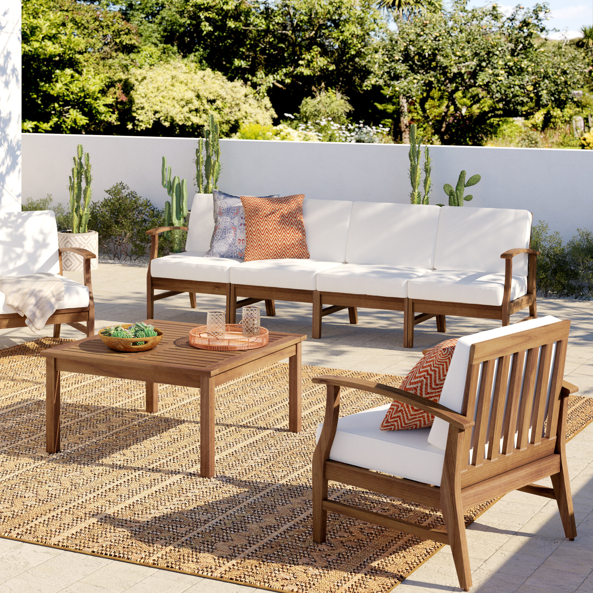 Most Recent Antonia Teak Patio Sectionals With Cushions For Antonia 4 Piece Sofa Set With Cushions (View 17 of 25)