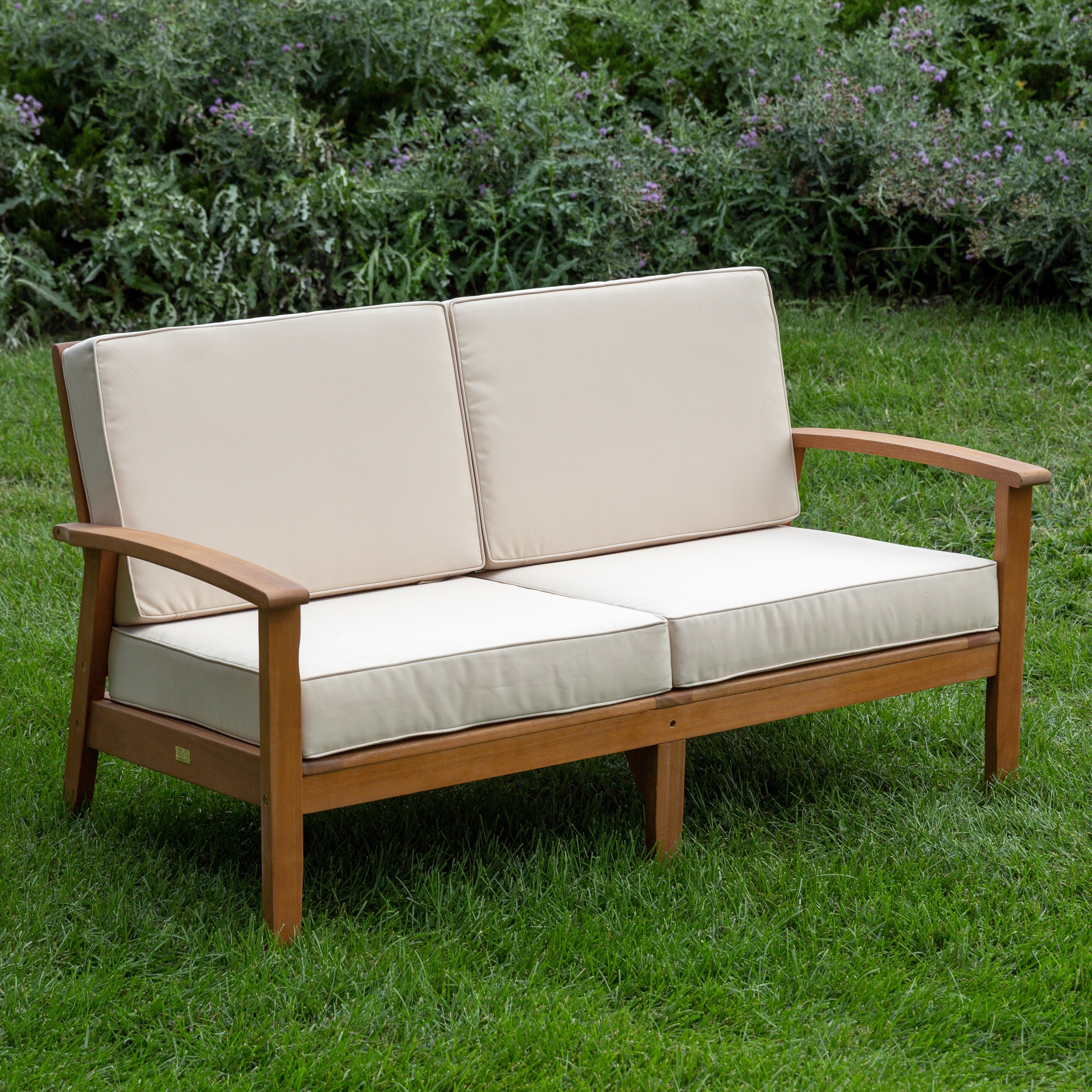 Most Recent Bullock Outdoor Wooden Loveseats With Cushions In Buecker Deep Seat Settee With Cushions (View 9 of 20)