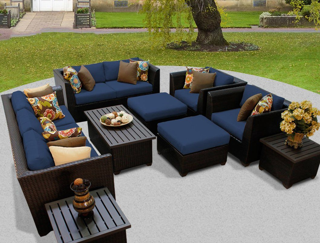 Most Recent Camak Patio Loveseats With Cushions Pertaining To Camak 12 Piece Sofa Seating Group With Cushions (View 9 of 20)